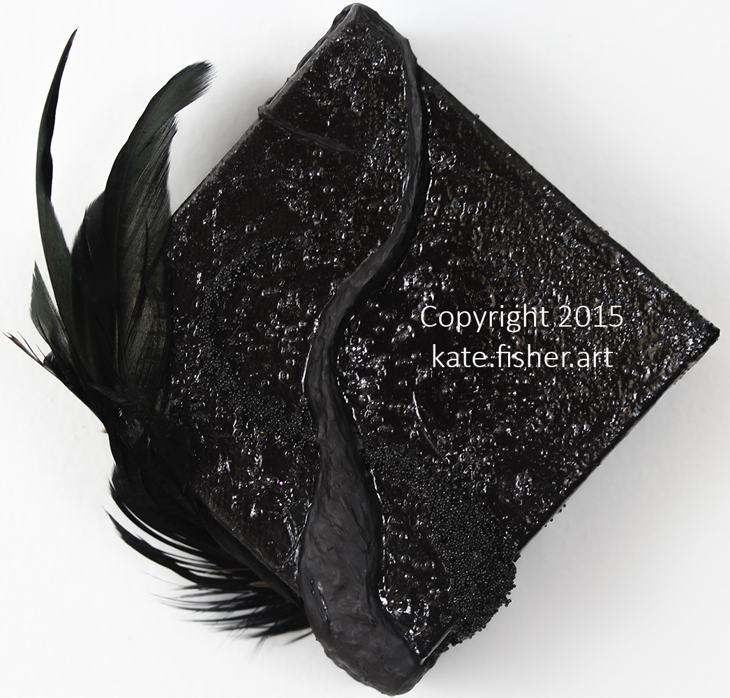 original acrylic painting in black with built up, organic textures made of feathers, microbeads, and glitter