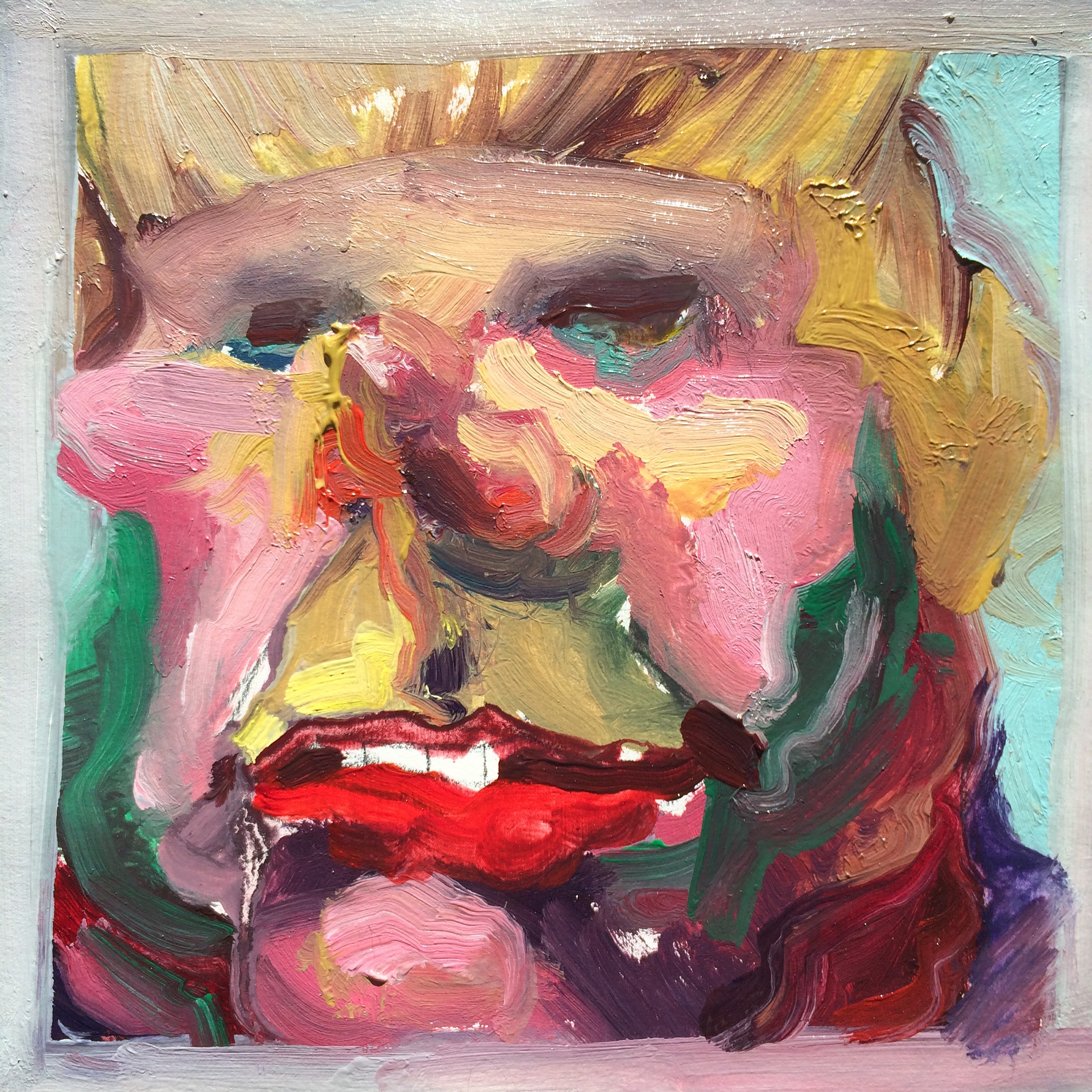 A vibrantly colored oil painting of a close up portrait of a grotesque looking blonde person.