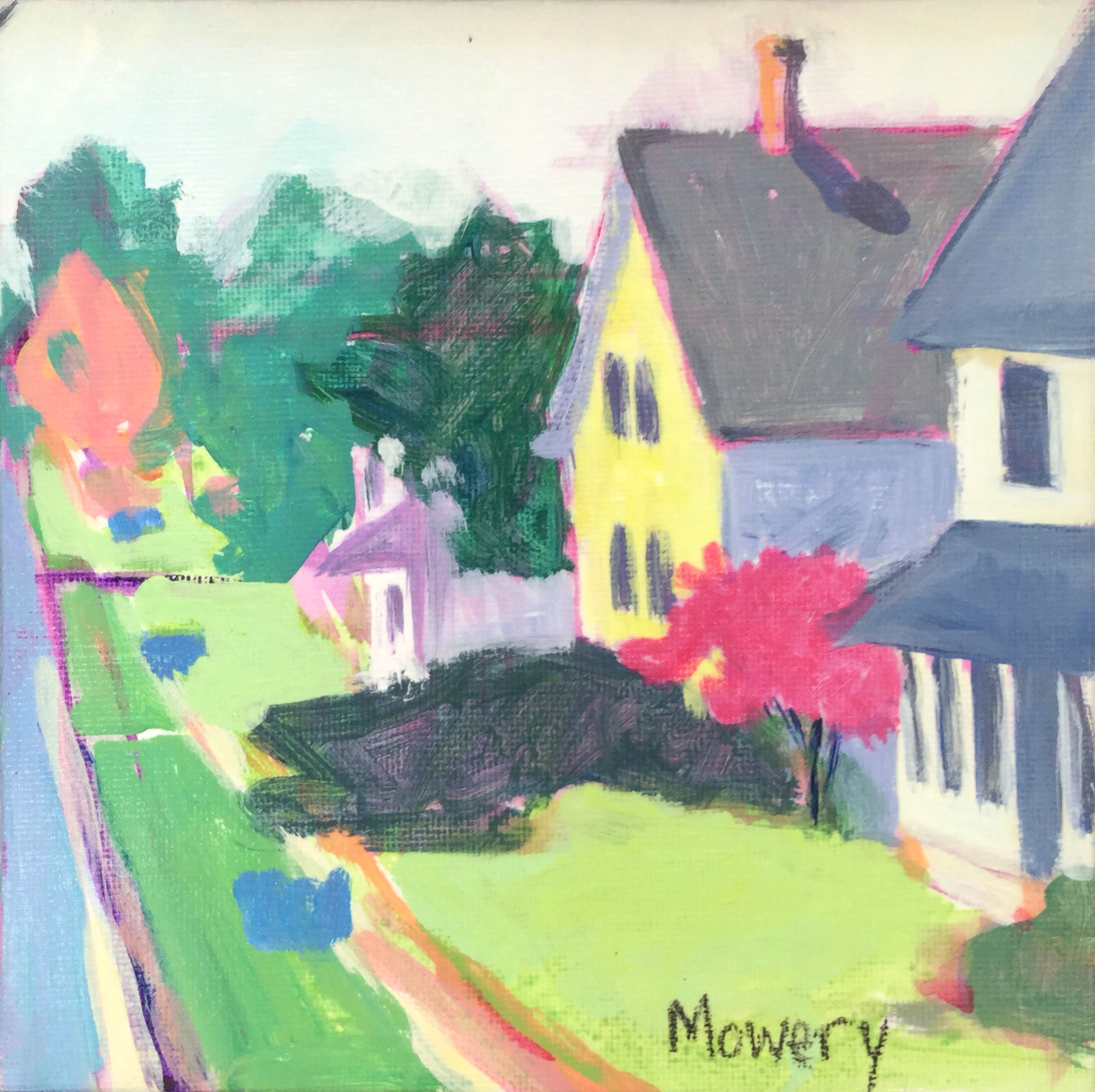 This is an acrylic painting of a neighborhood of colorful houses with blue recycling bins out for pickup by artist Barb Mowery.