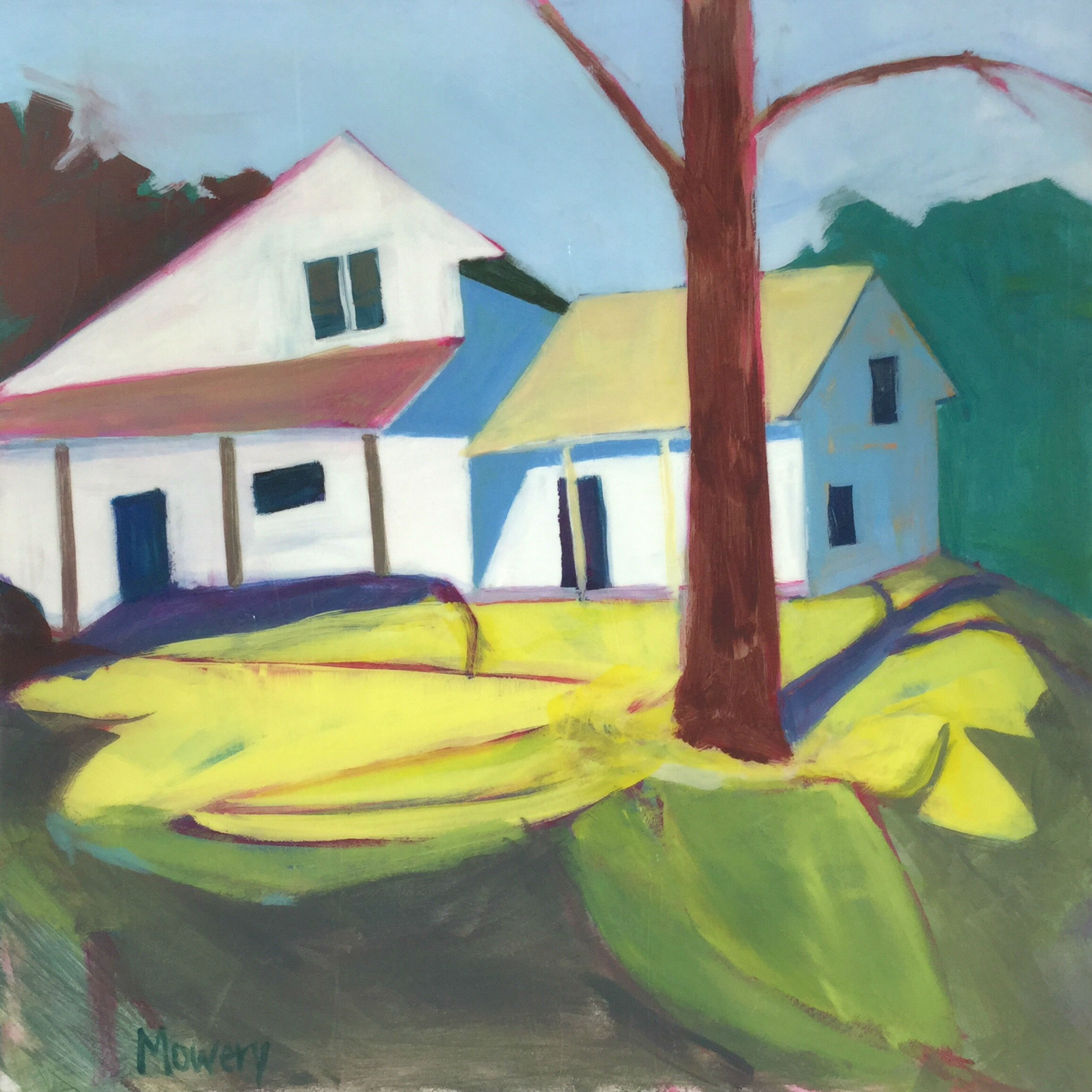 This is an acrylic painting of a suburban house with complicated roof lines by artist Barb Mowery.
