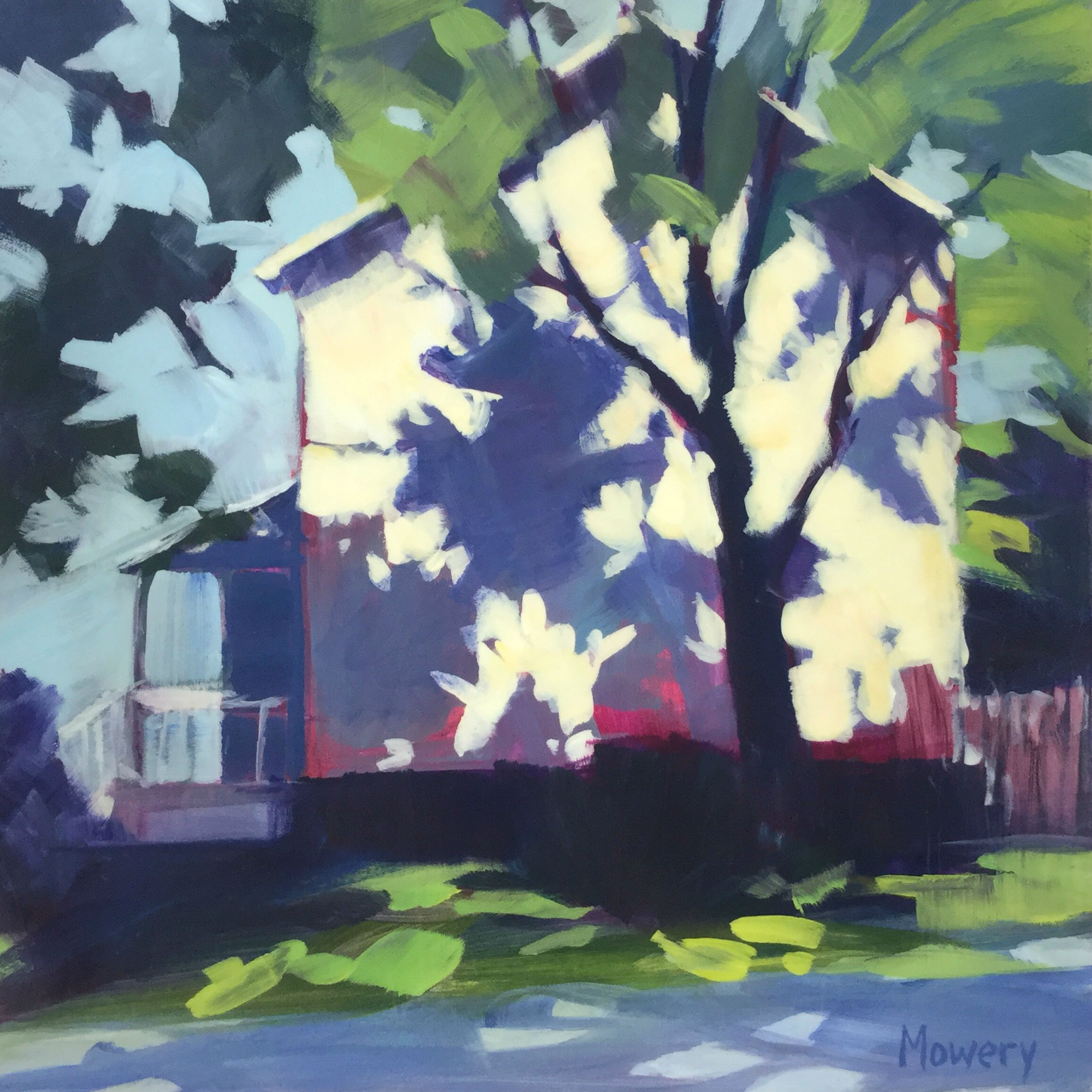 This is an acrylic painting of tree shadows on the side of a suburban house by artist Barb Mowery.