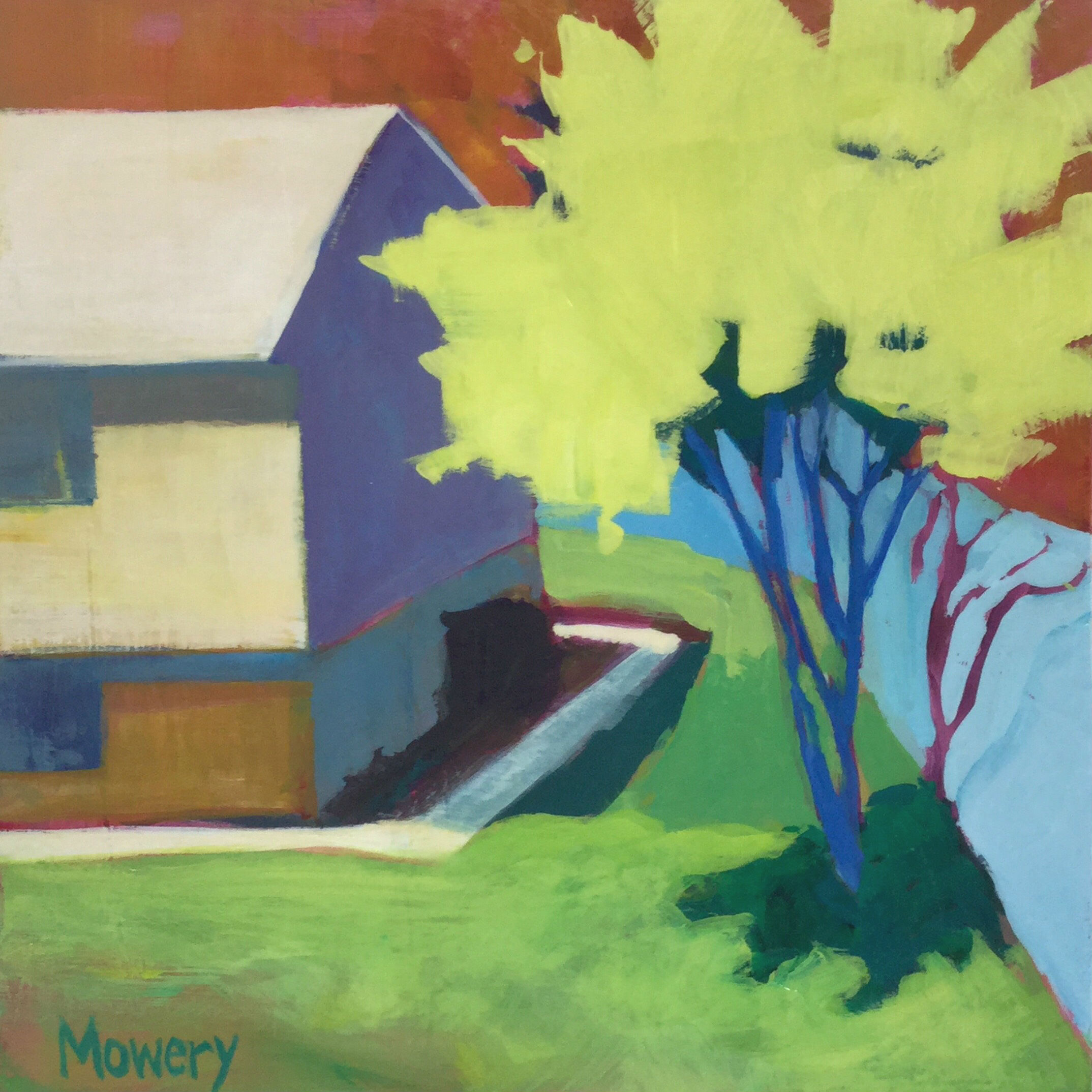 This is an acrylic painting of of a suburban house with a blue privacy fence and a crepe myrtle tree by artist Barb Mowery.