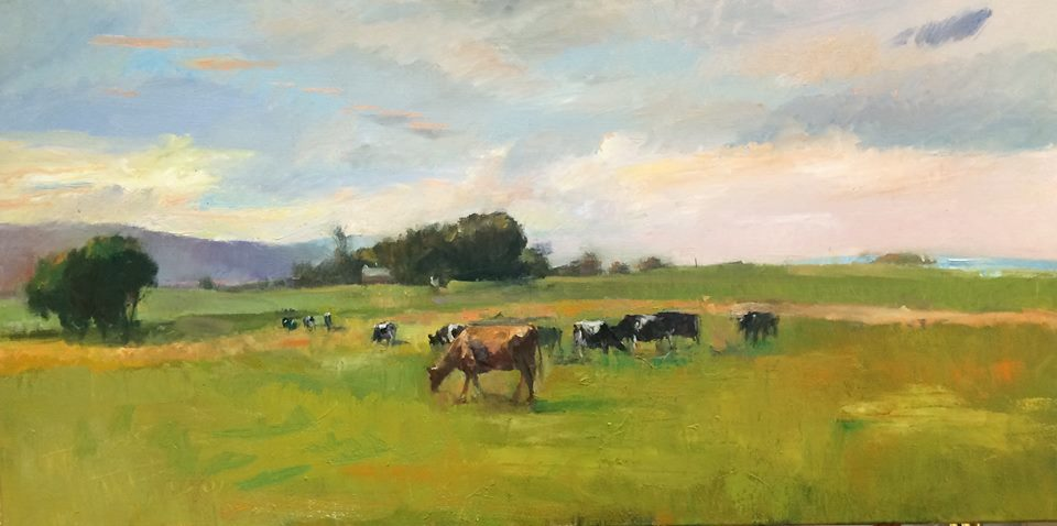 Cow, paintings, landscape painting