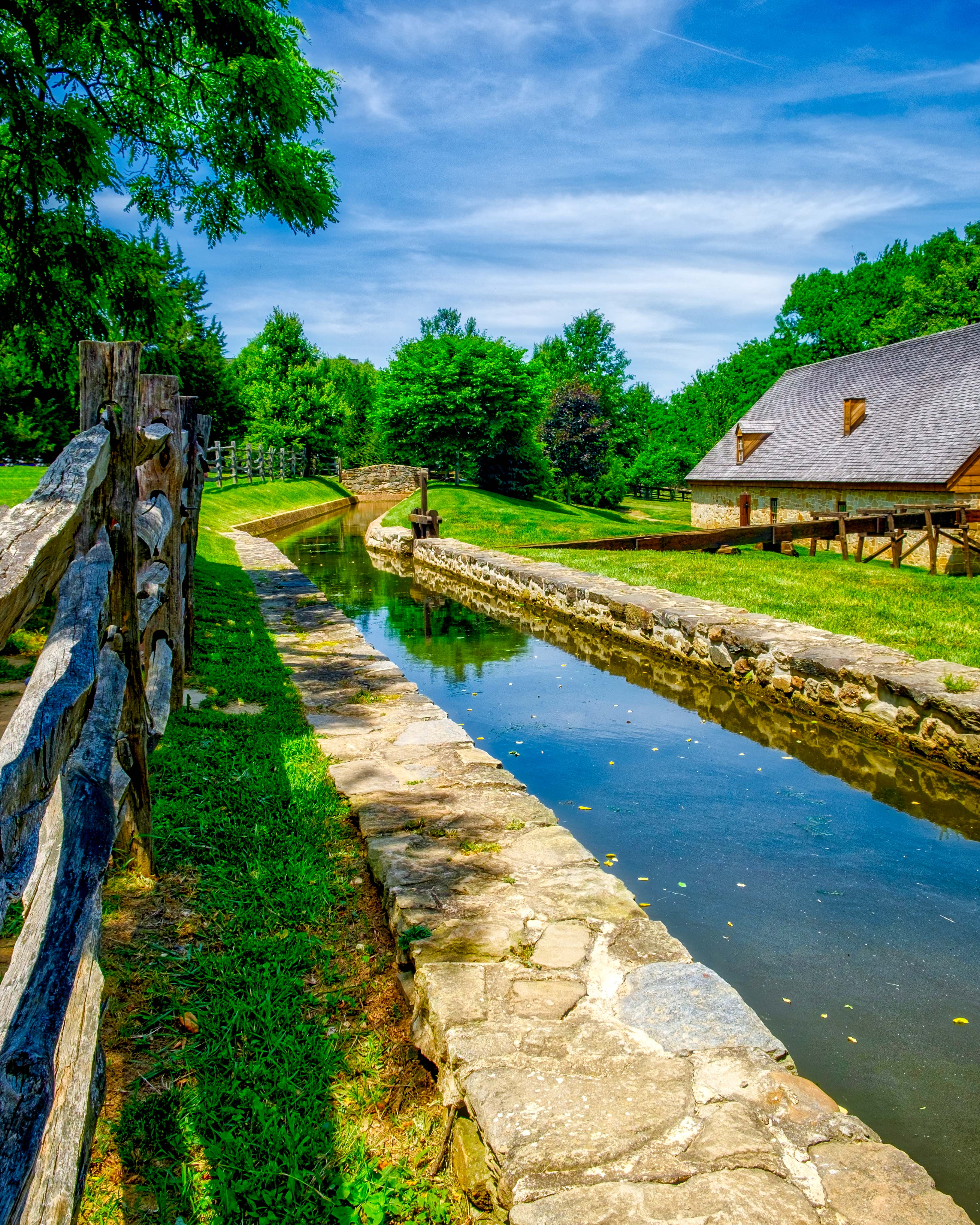 Mill stream and distillery at the George Washington gristmill and distillery near Mount Vernon.