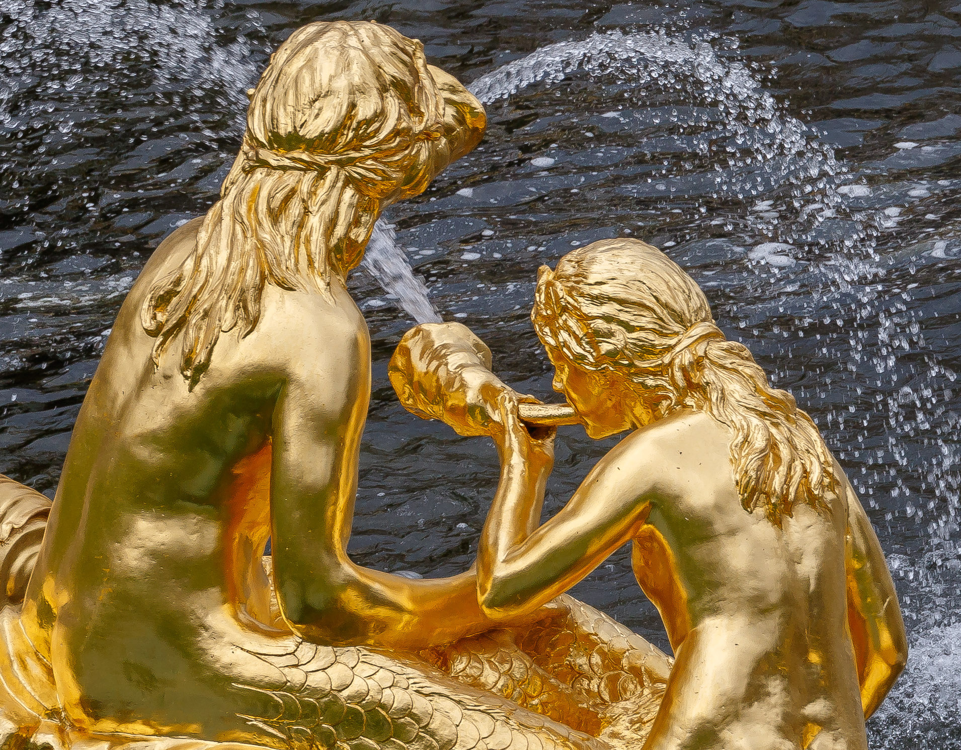 gold statue, statue, fountain, statue spraying water, water nymphs