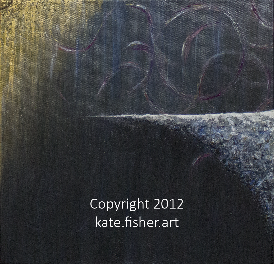 original acrylic painting in dark background colors with built up, organic, golden textures in the upper-right-hand corner and light, snowy  textures in the general forefront made of microbeads