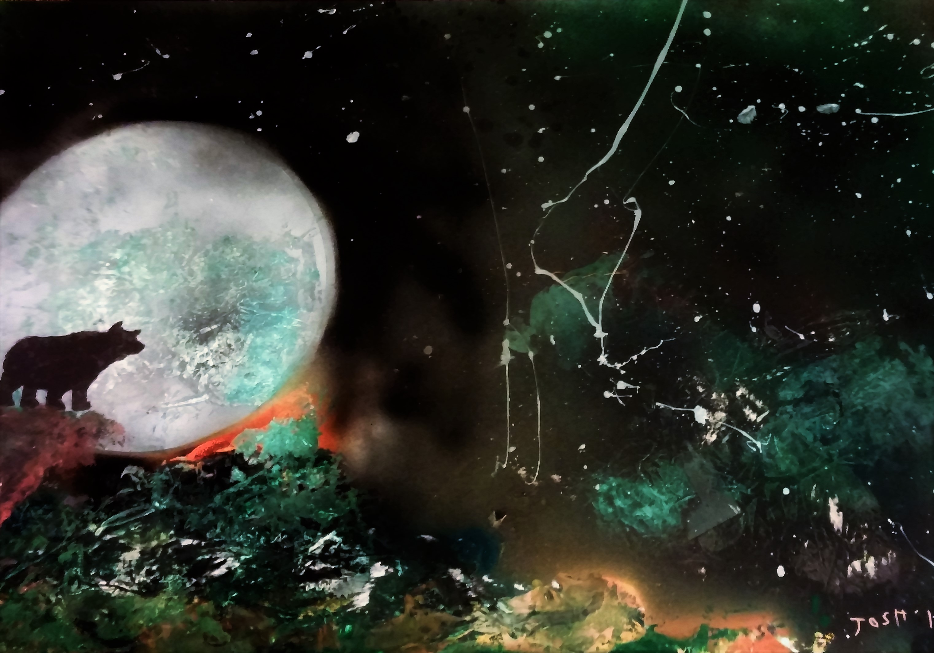 Bear and Moon, special request...Search art3000 site to view