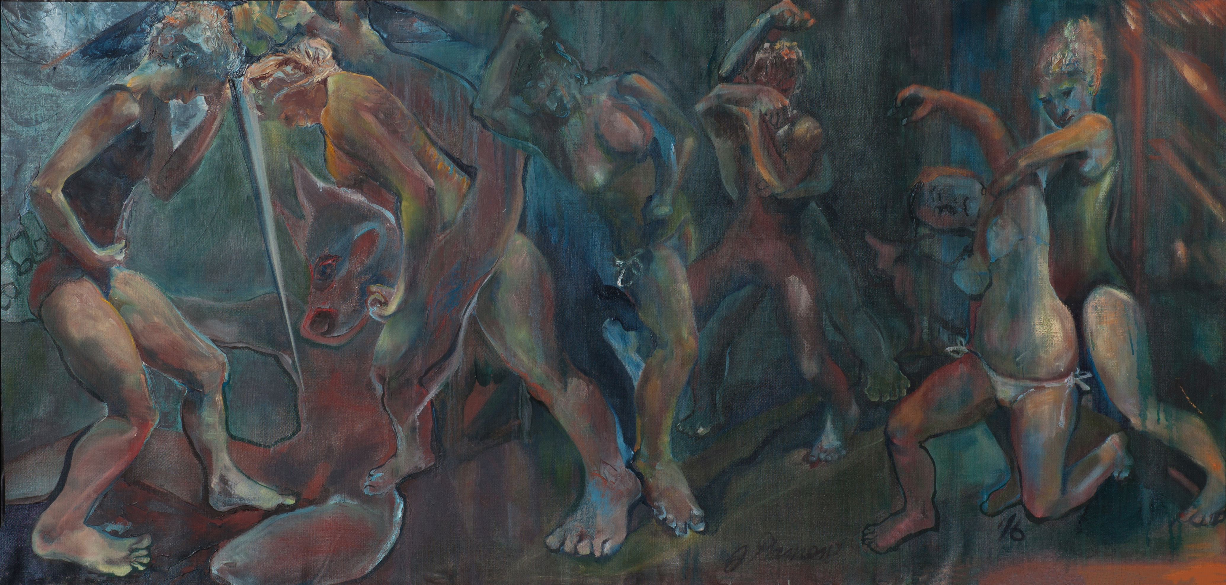 oil painting, Greek myth, feminist perspective, psychological