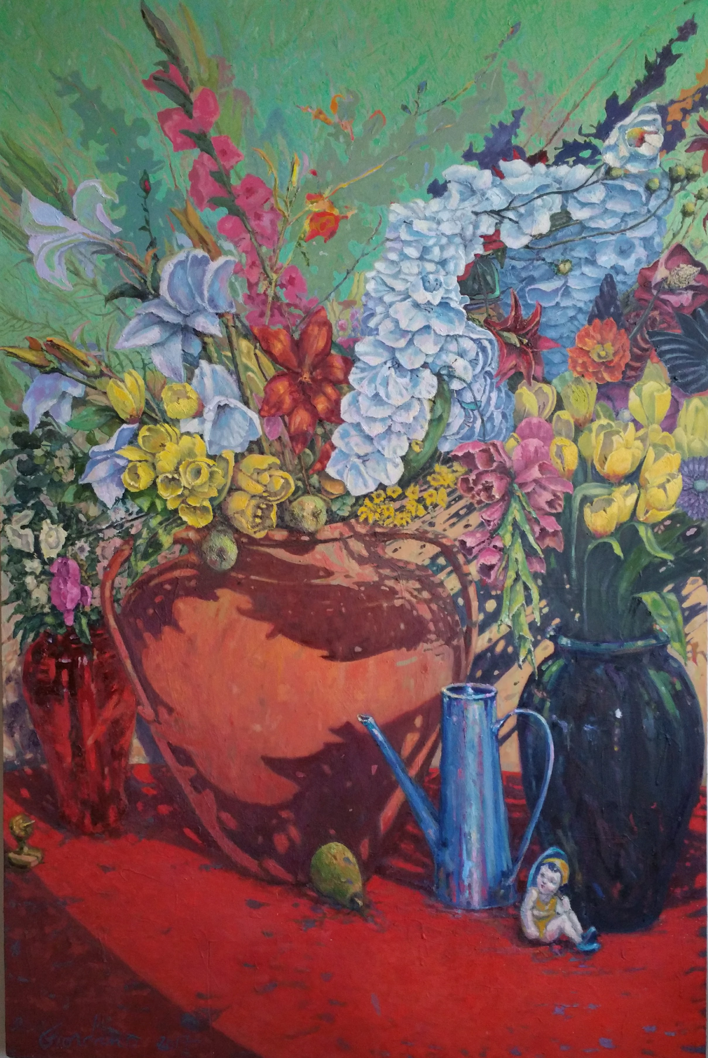 large symphonic still-life, floweres and vessels.