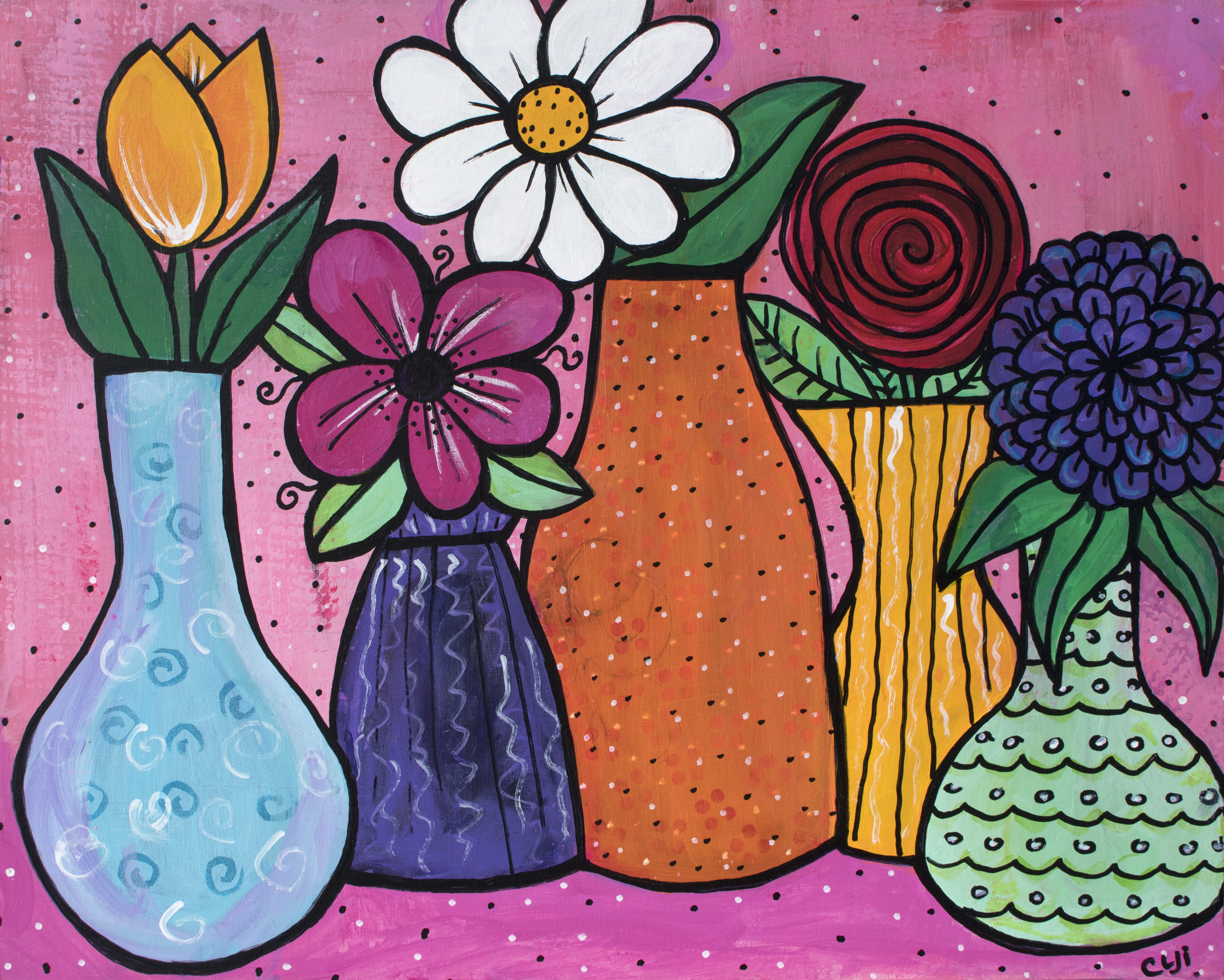 Five Vases of Flowers by Claudine Intner
