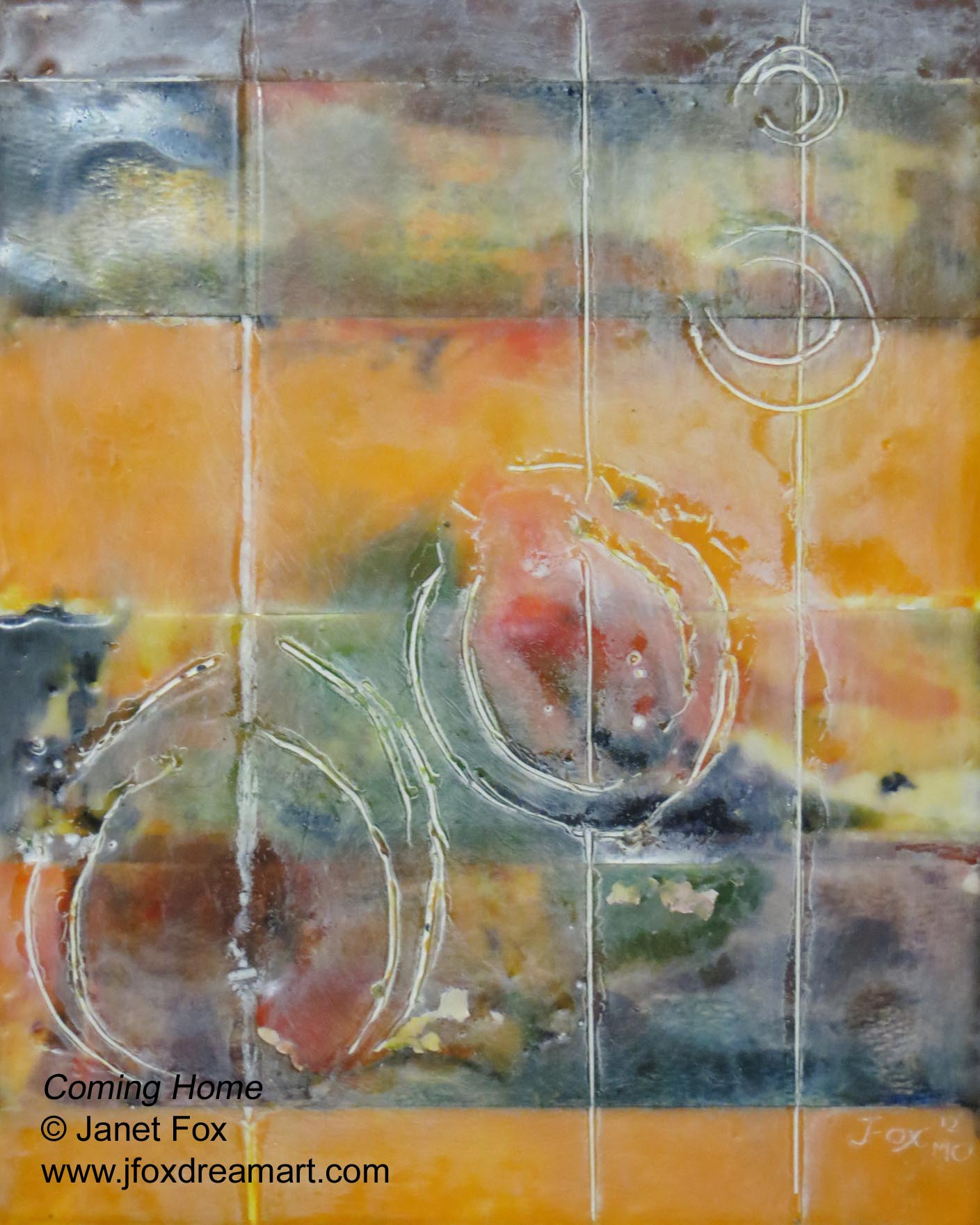 "A contemporary encaustic painting titled ""Coming Home,"" by Janet Fox"