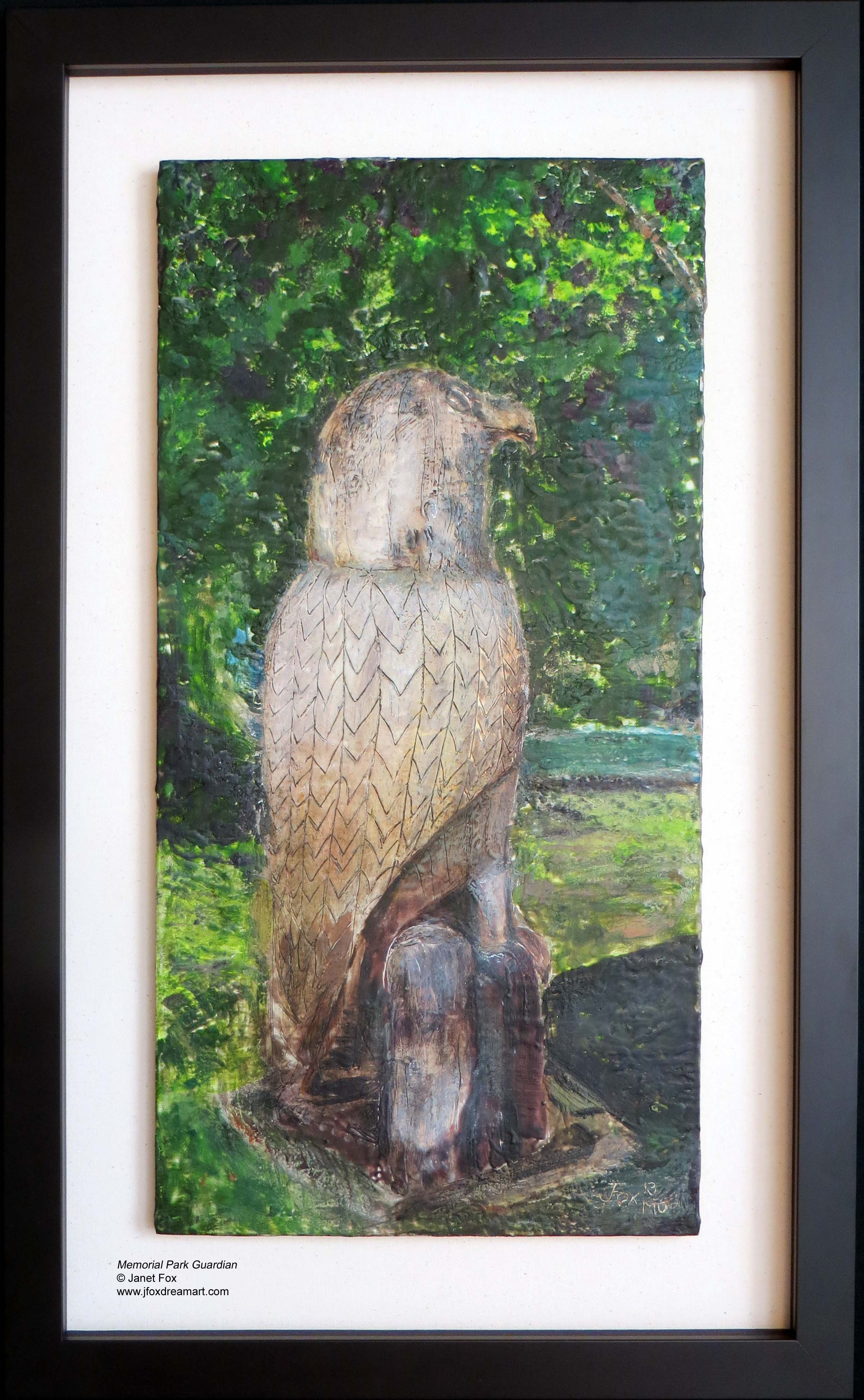 "A contemporary encaustic painting titled ""Memorial Park Guardian,"" by Janet Fox"