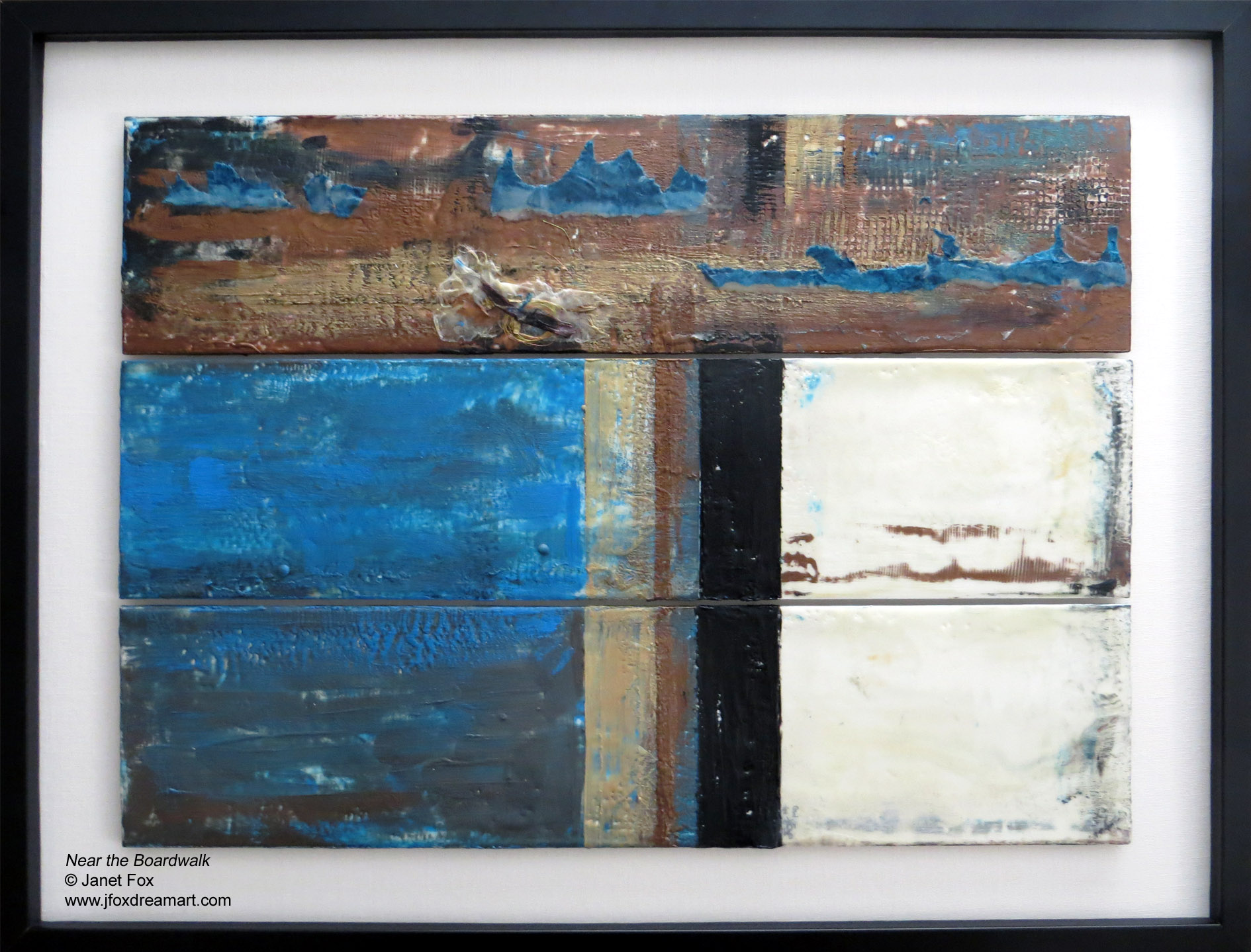 "A contemporary encaustic painting titled ""Near the Boardwalk,"" by Janet Fox"