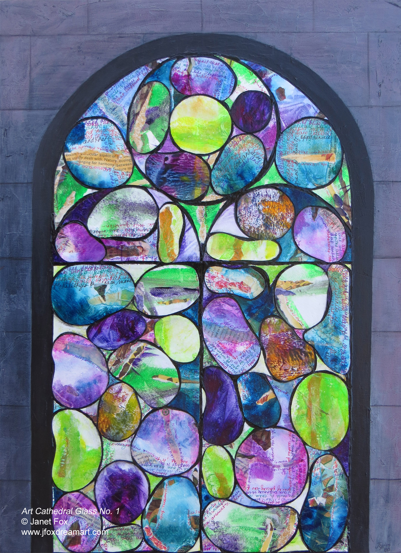 "A contemporary mixed-media painting titled ""Art Cathedral Glass No. 1,"" by Janet Fox"