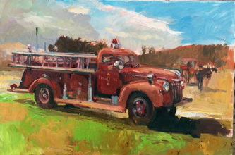 fire truck, landscape, painting, oil