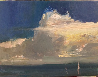 Clouds, landscape, seascape, painting