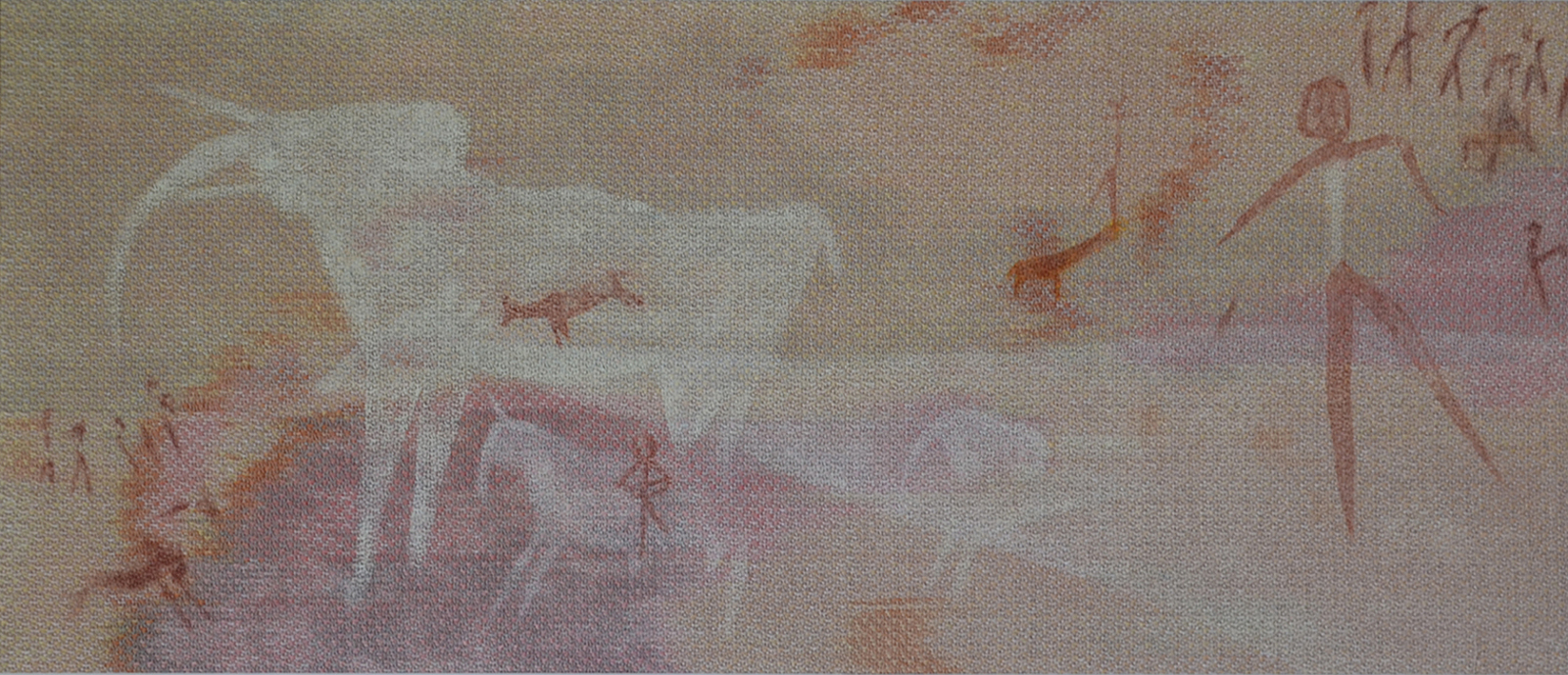 Dyed linen woven and painted, cave Painting inspired by Phillips Cave, Namibia, Africa