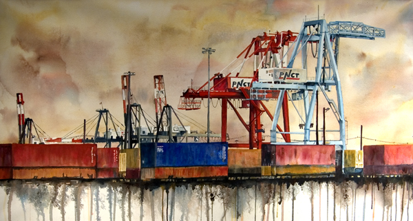 """Freight Yard is a 25"""" X 45"""" painting using fluid acrylic on varnished gallery wrapped paper"""