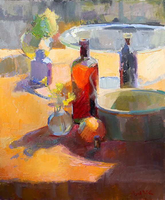 Sunny Orange Outdoor Still Life Plein Air