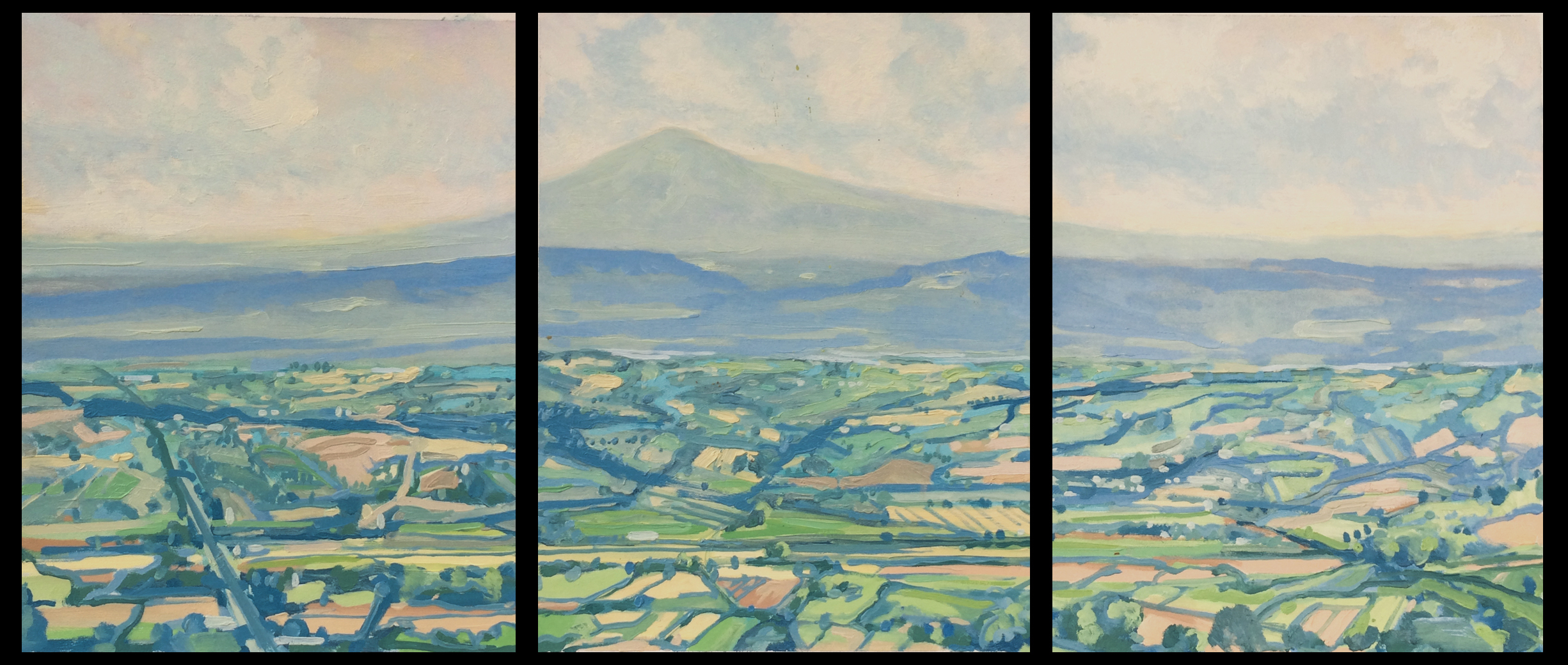 """Paul Reuther; Amiata triptych; 3 panels, each 14"""" x 11"""" ; 2017;  oil on archival paper on panel"""