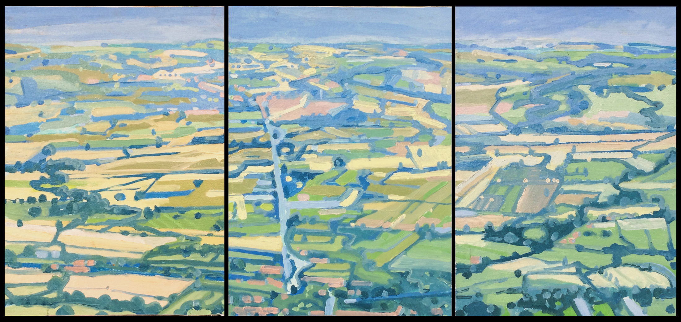 """Paul Reuther; Valdichiana Triptych, A view from Cortona, Italy;  2017; Dimensions,   3 panels, each 14"""""""