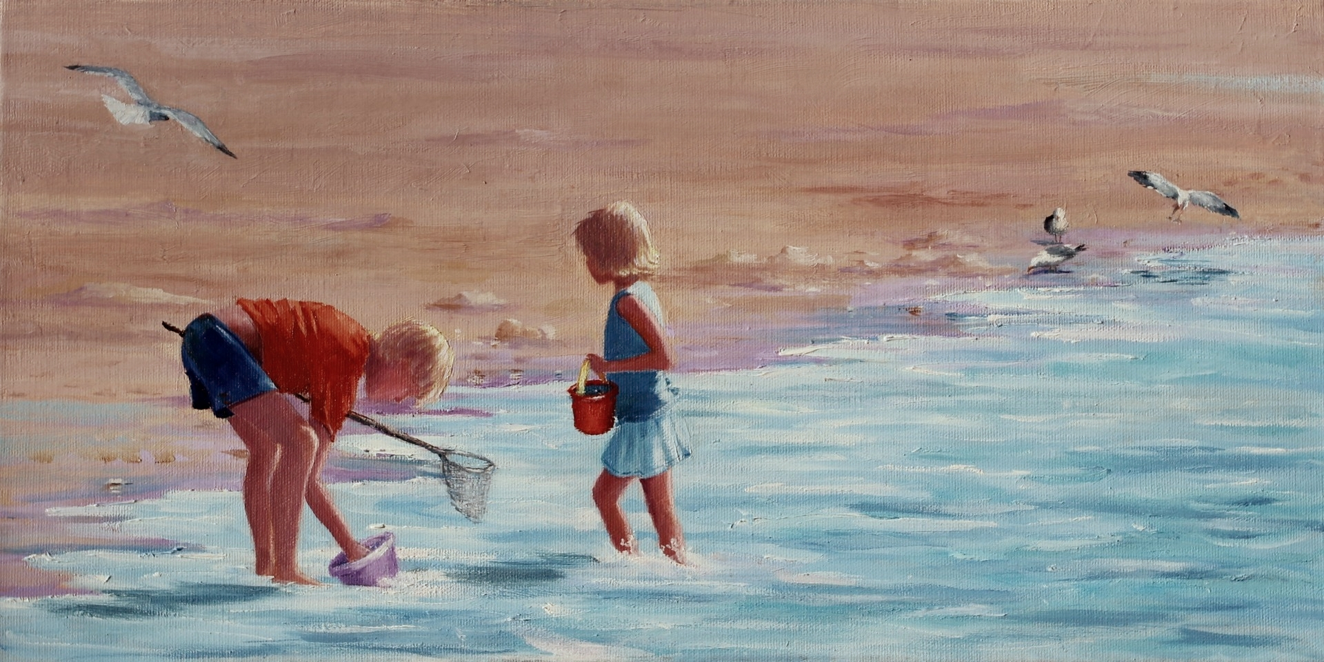 Chesapeake Bay, beachcombers, siblings, sisters, shell hunters seekers, Doris GlovierEastern shore painting, kids, children