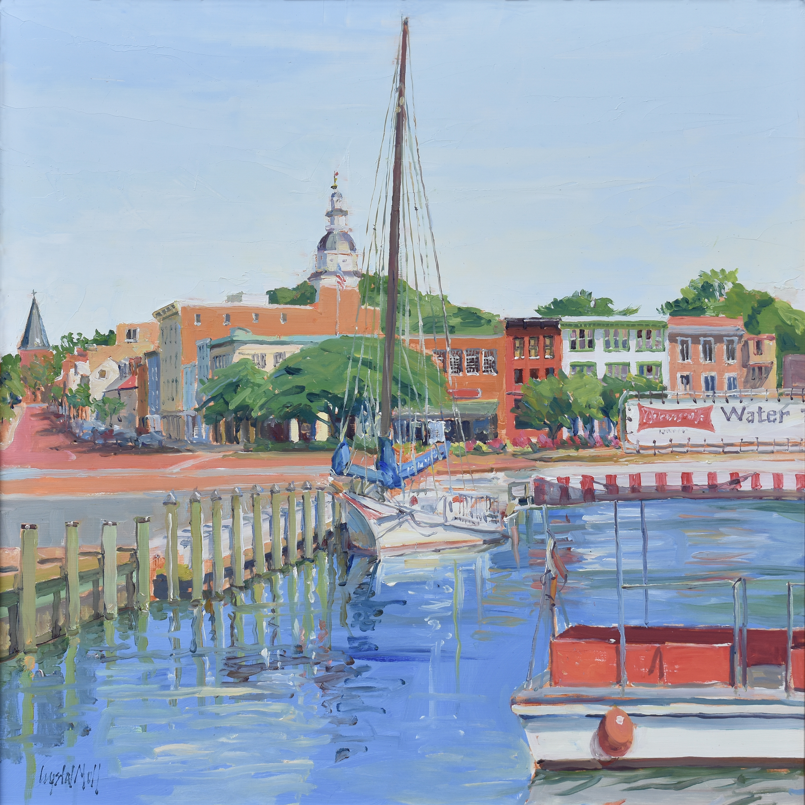 """""""Bow View"""" is an oil on canvas which was painted on location. This piece required several visits to complete."""