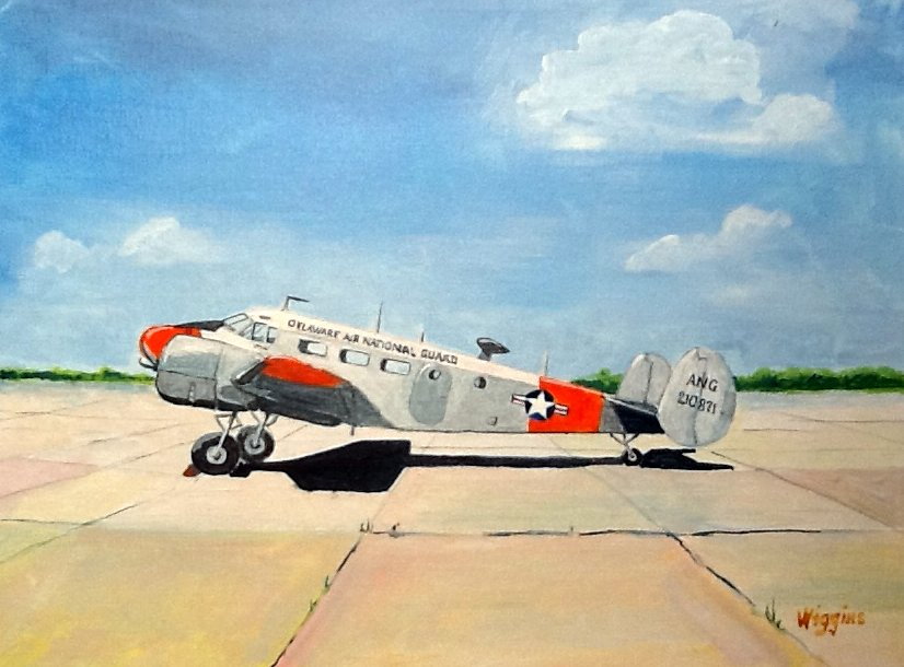 An airplane portrait of the C-45 used by the Delaware Air National Guard in the 1950s.