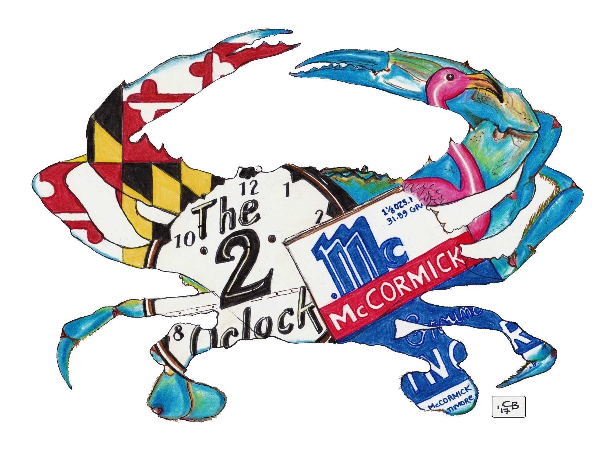 Crab, Baltimore, Icon, Drawing, Detail, Animal, Colored Pencil, Marker