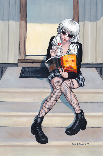Girl in fishnets reading comic book on steps