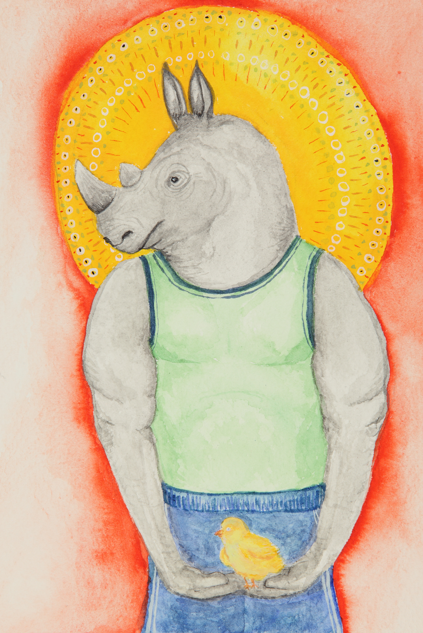 Whimsical watercolor painting of a buff rhino holding a baby chick.