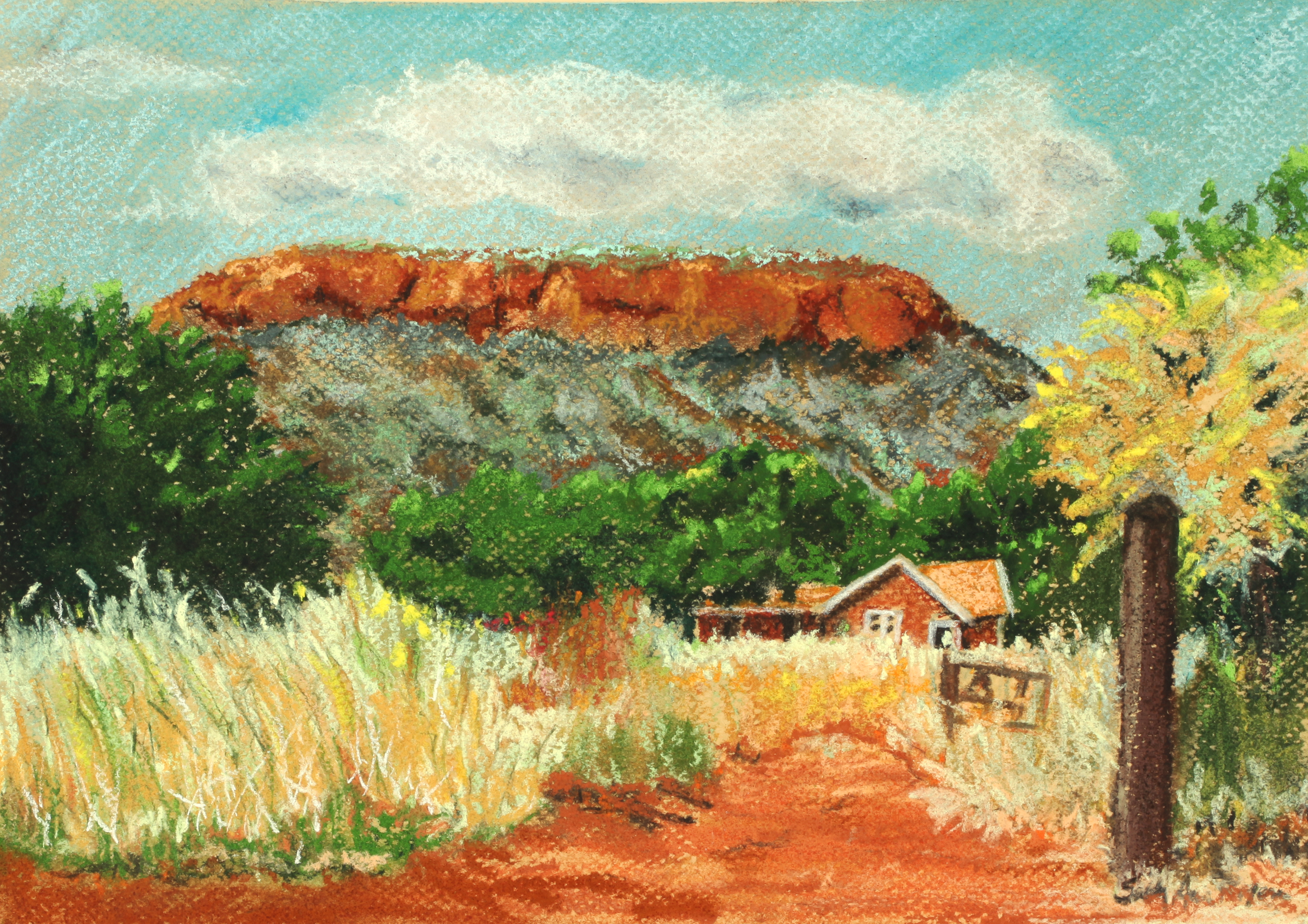 Pastel of a house in South Africa with a mountain in the background