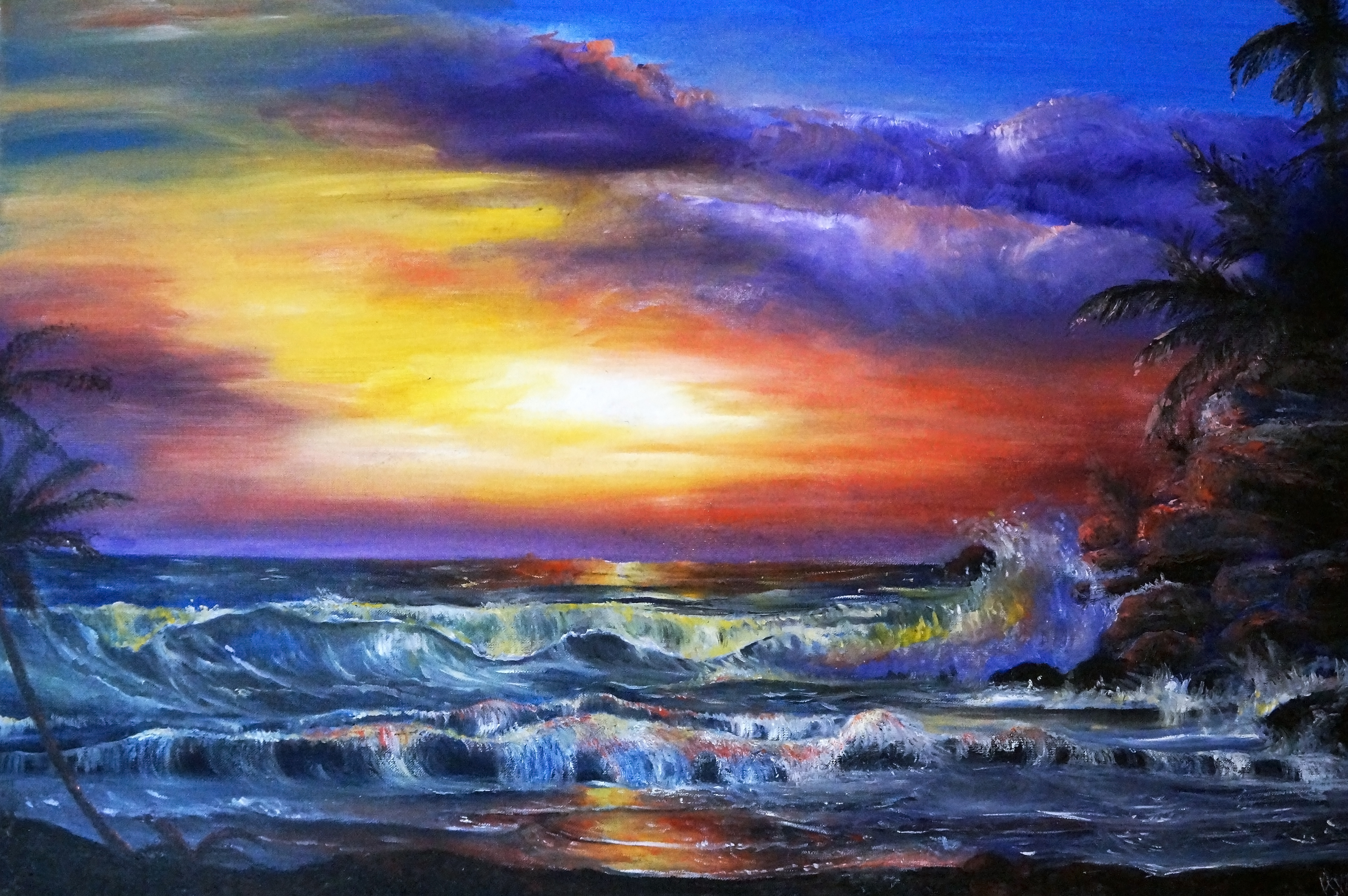 Beach Sunset painting by Britnie