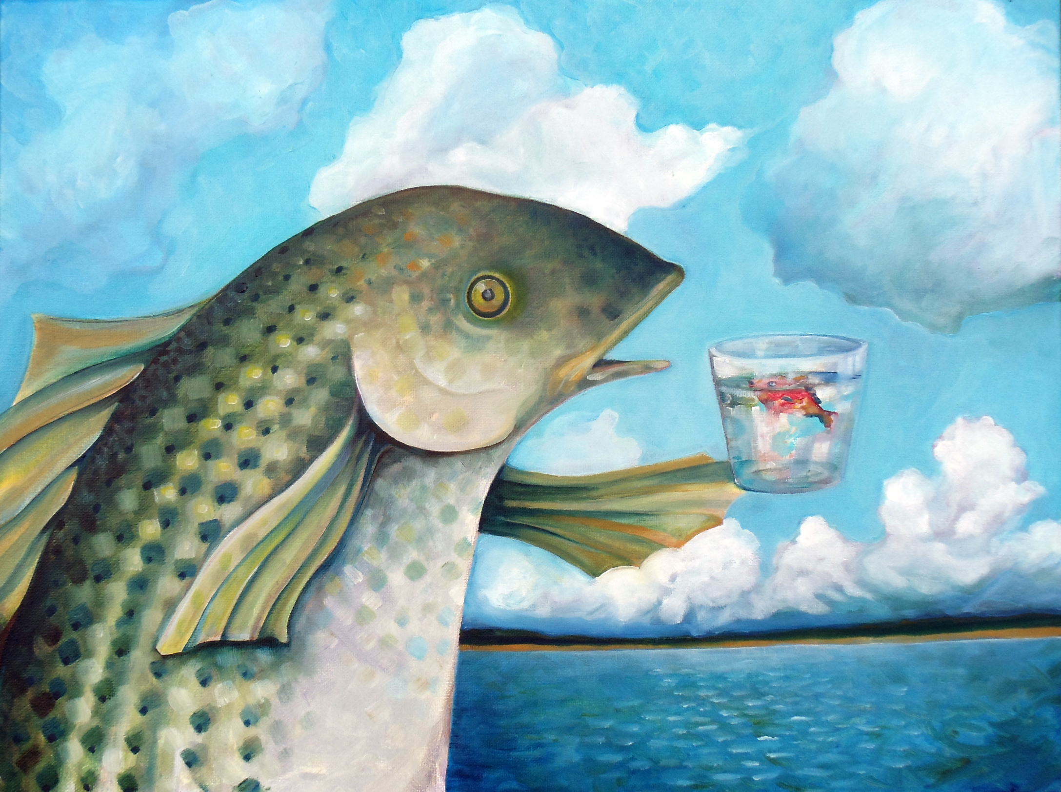 A large Rock Fish raises a glass with a small orange fish in it