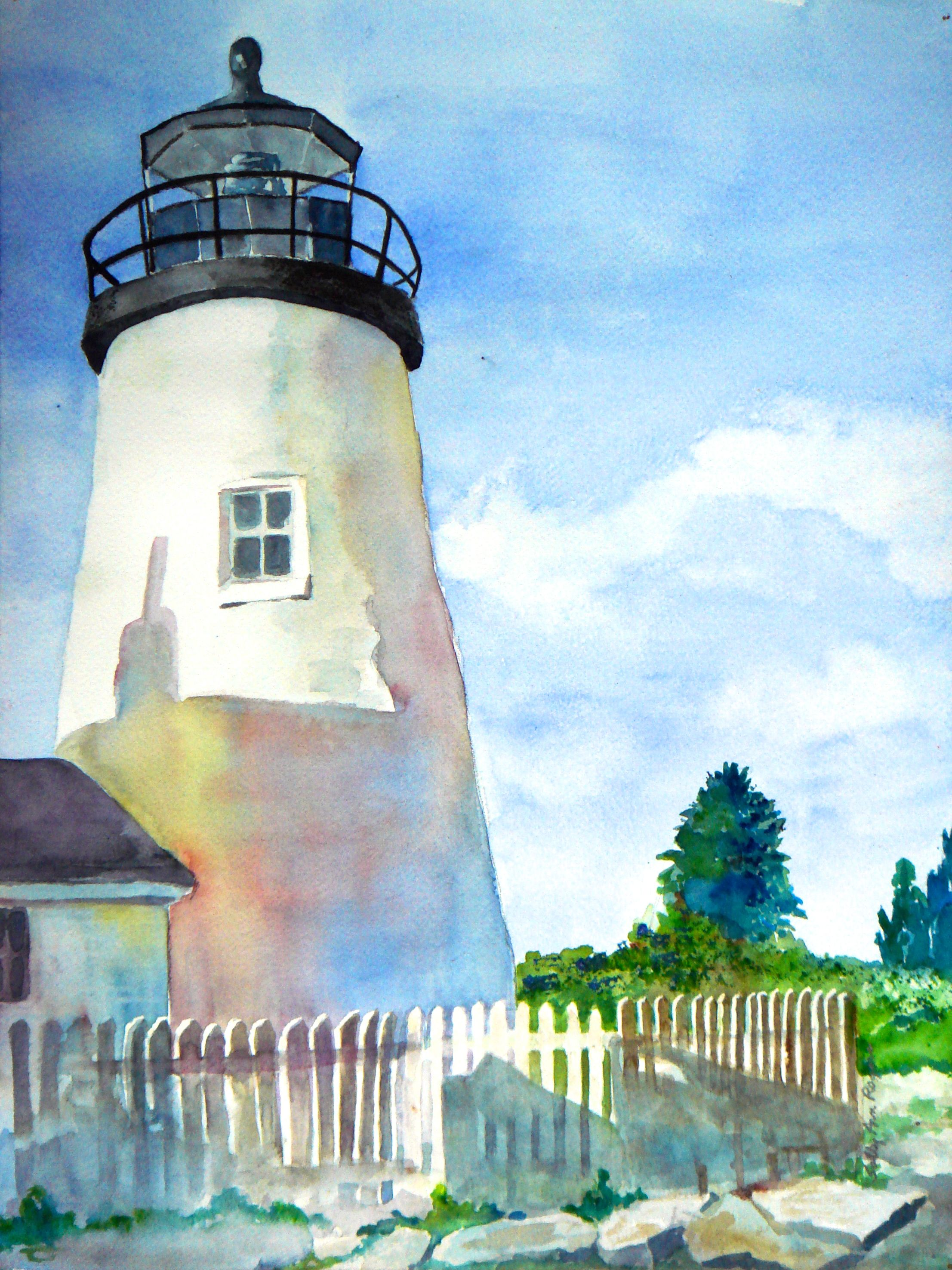 watercolor painting of Pemaquid Point Lighthouse