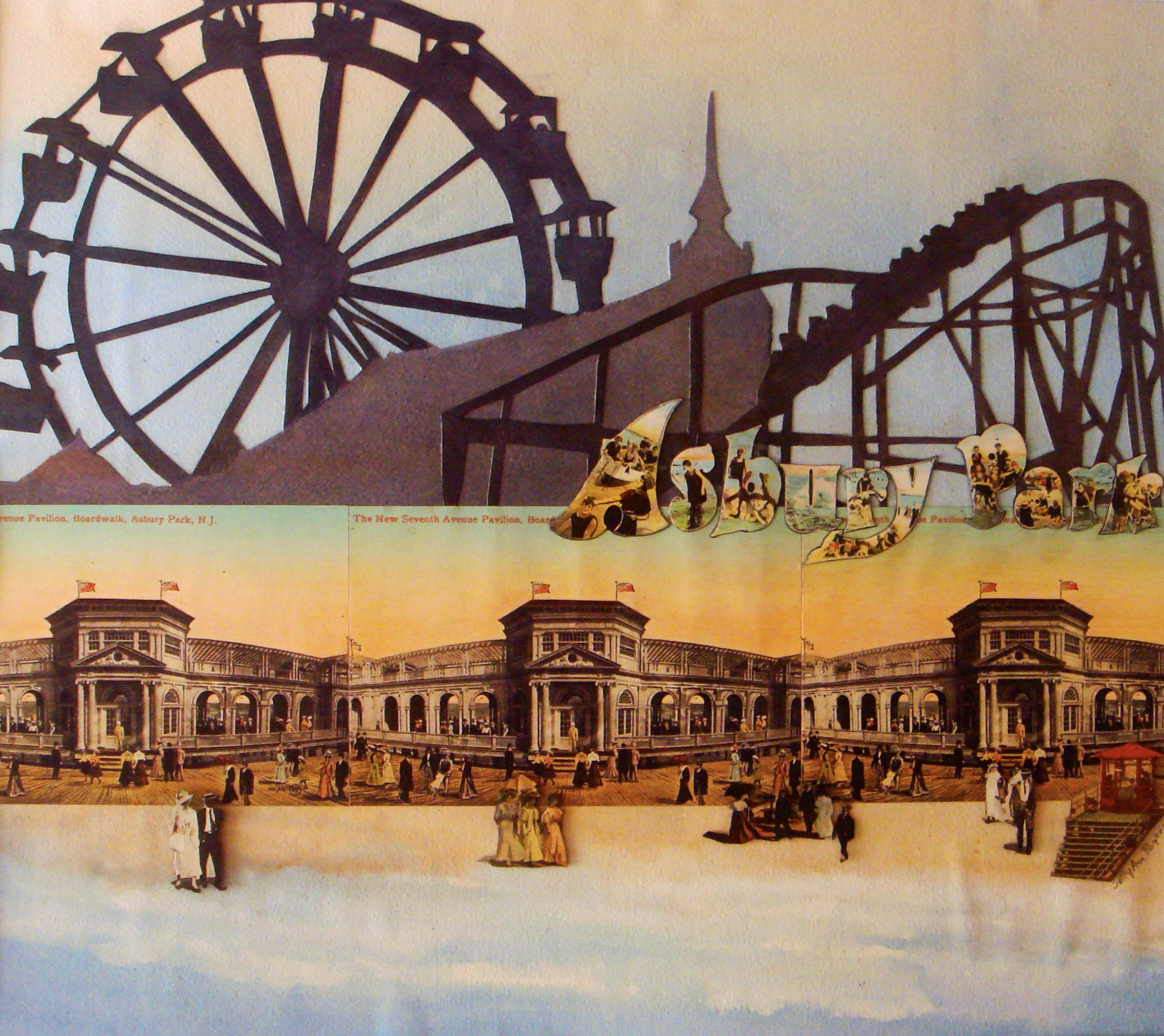 Collage of the boardwalk at Asbury Park, NJ using watercolor, paper and vintage postcards.