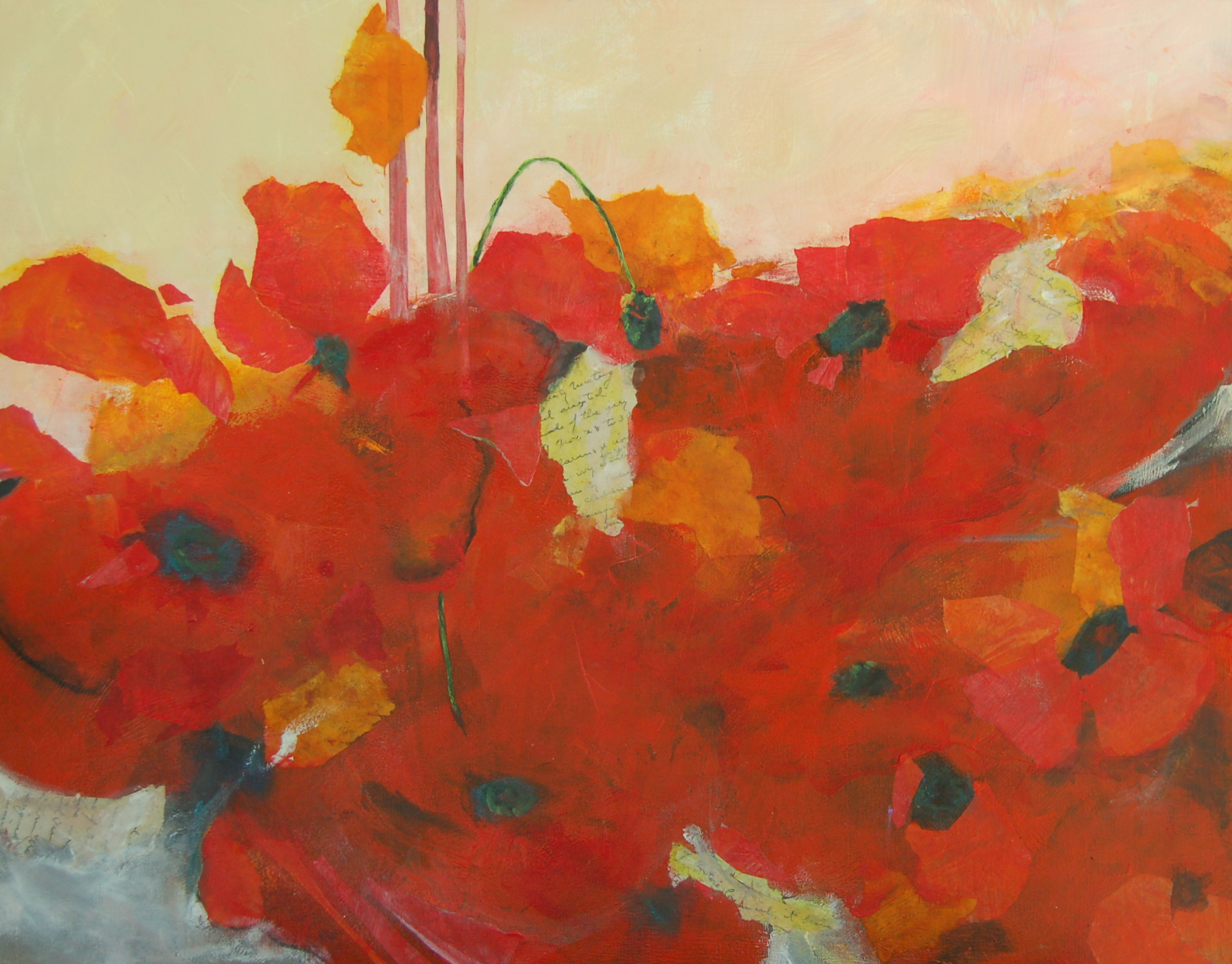abstarct acrylic painting of poppies with some collage