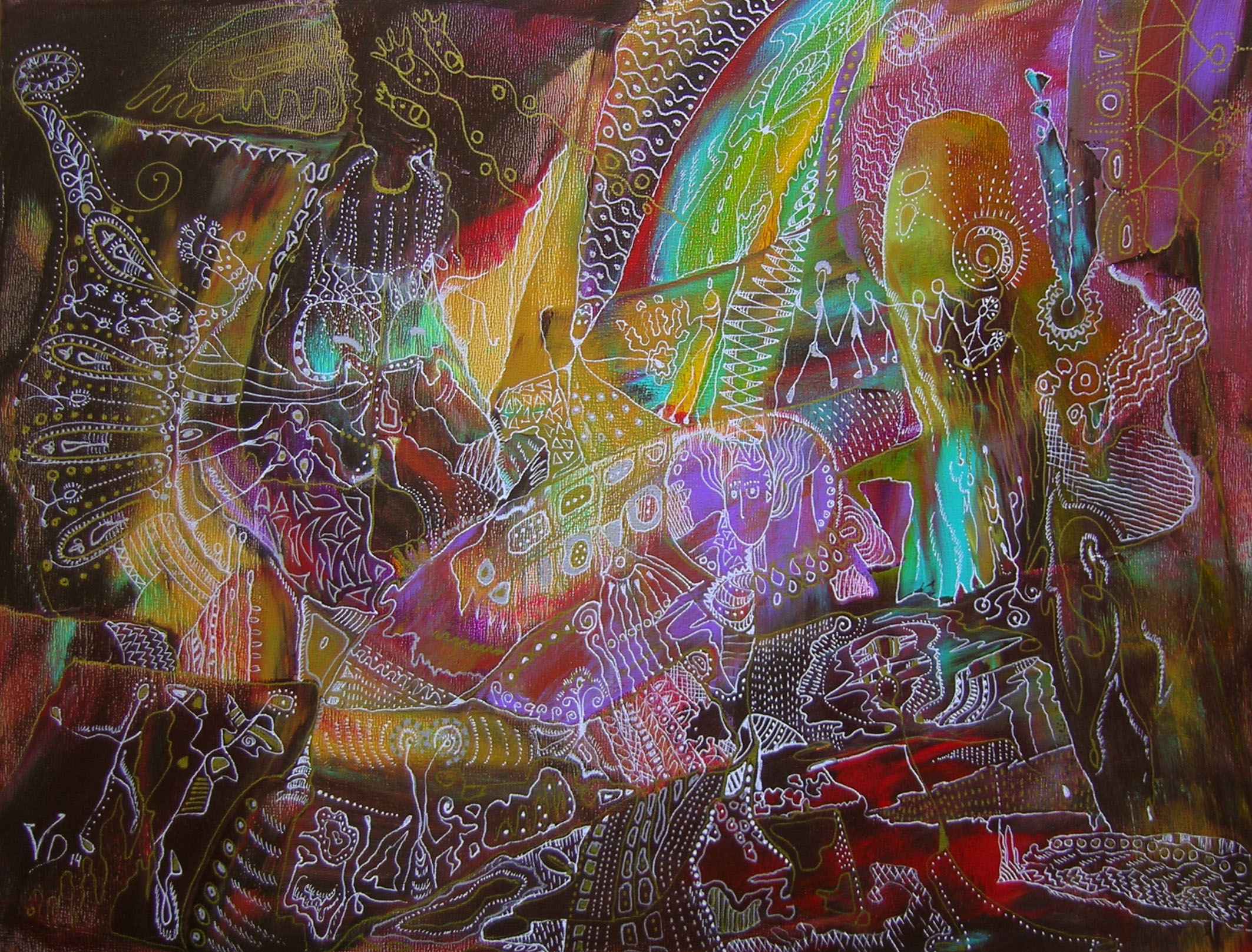 Abstraction, fantasy. Mixed media.  Acrylic painting on panel, ink markers.