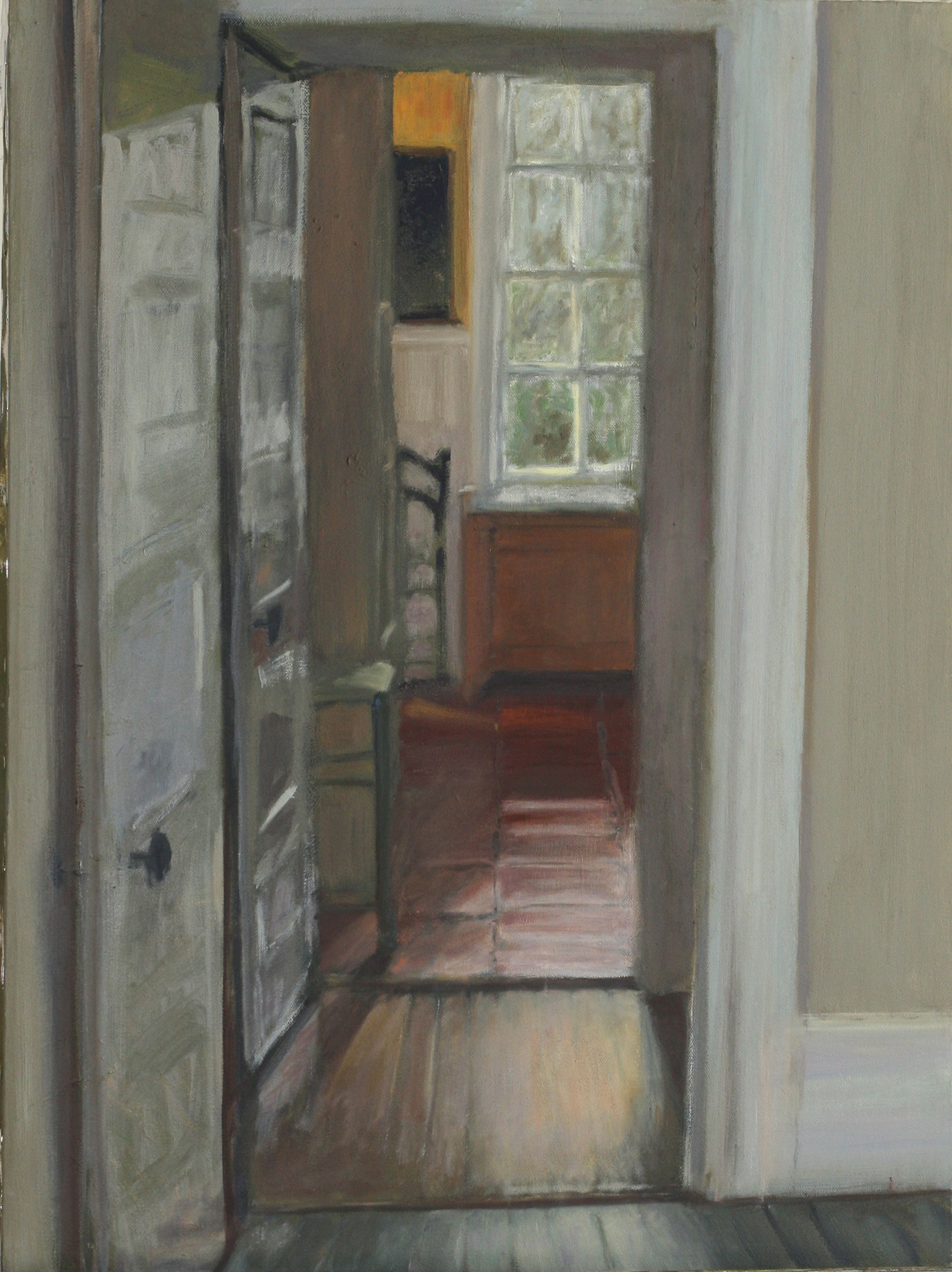 oil painting of doors leading to kitchen