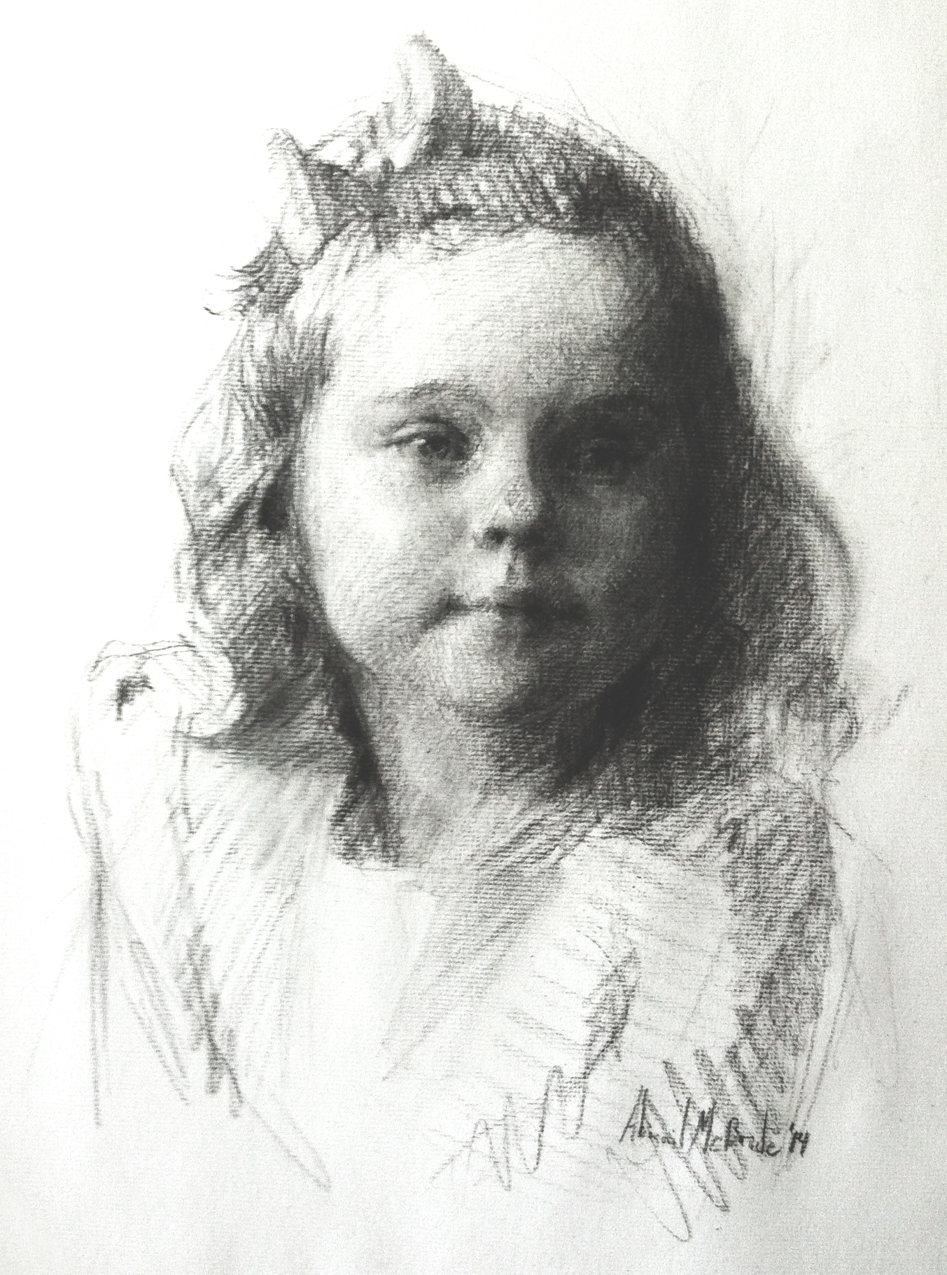 Charcoal Portrait, child by Abigail McBride
