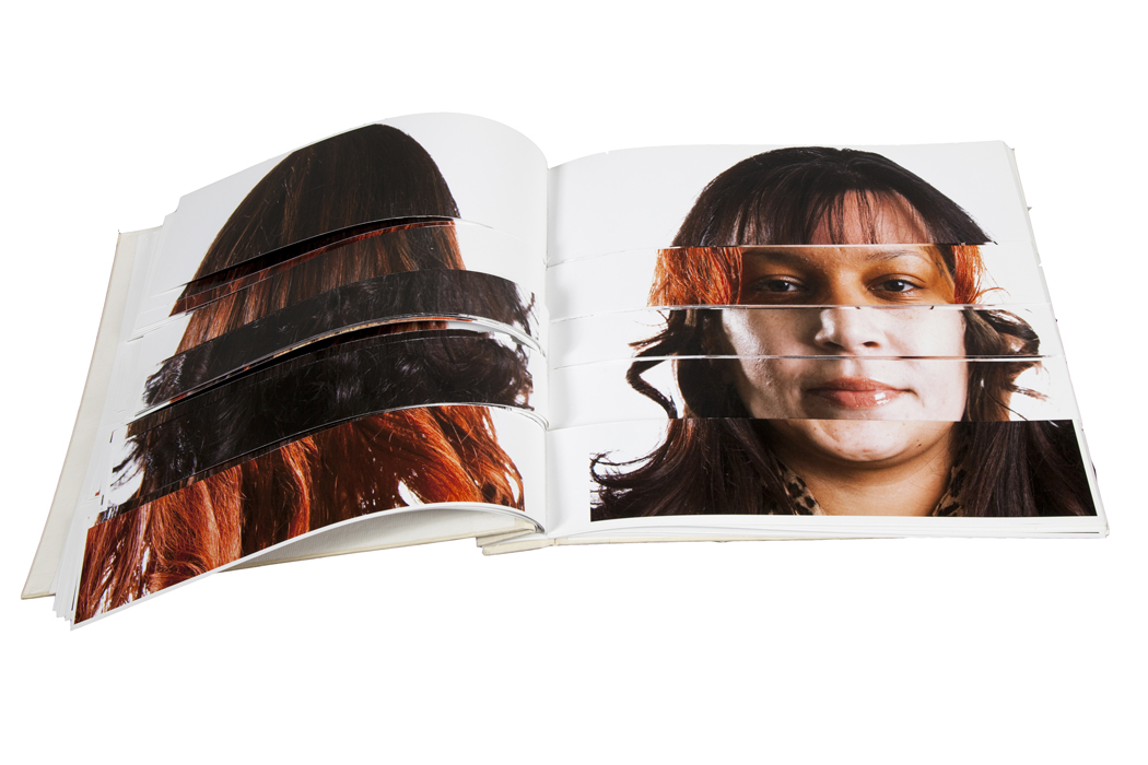"""Cadavre Esquis Artists Book made of the faces of participants in the """"Exquisite Lumbees"""" series"""