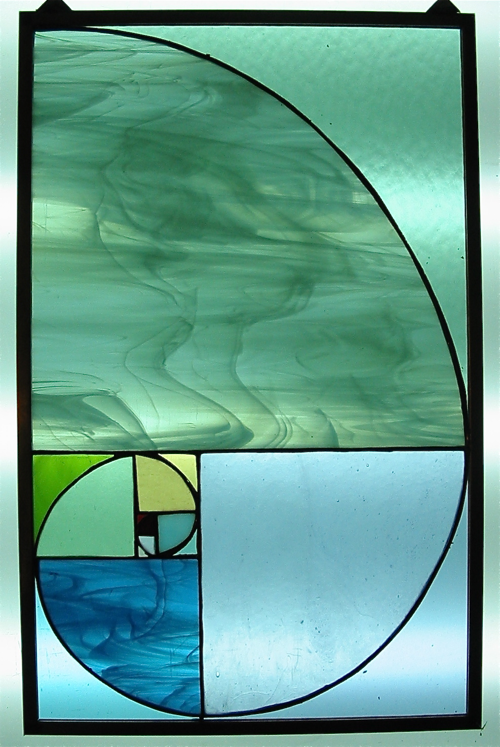 Fibonacci Spiral stained glass panel