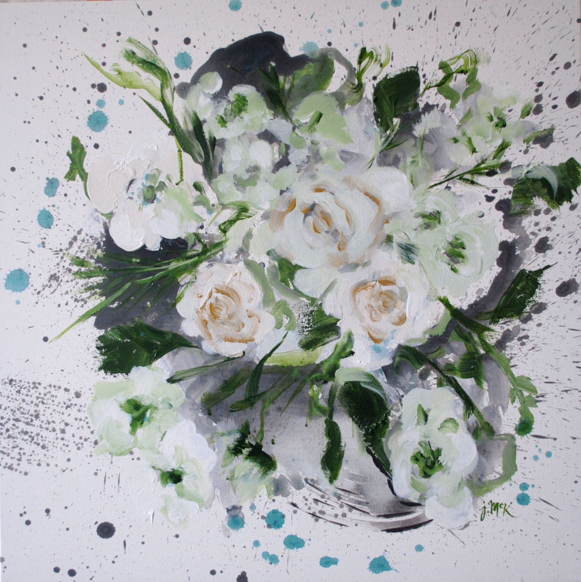 Abstract painting of white and green flowers
