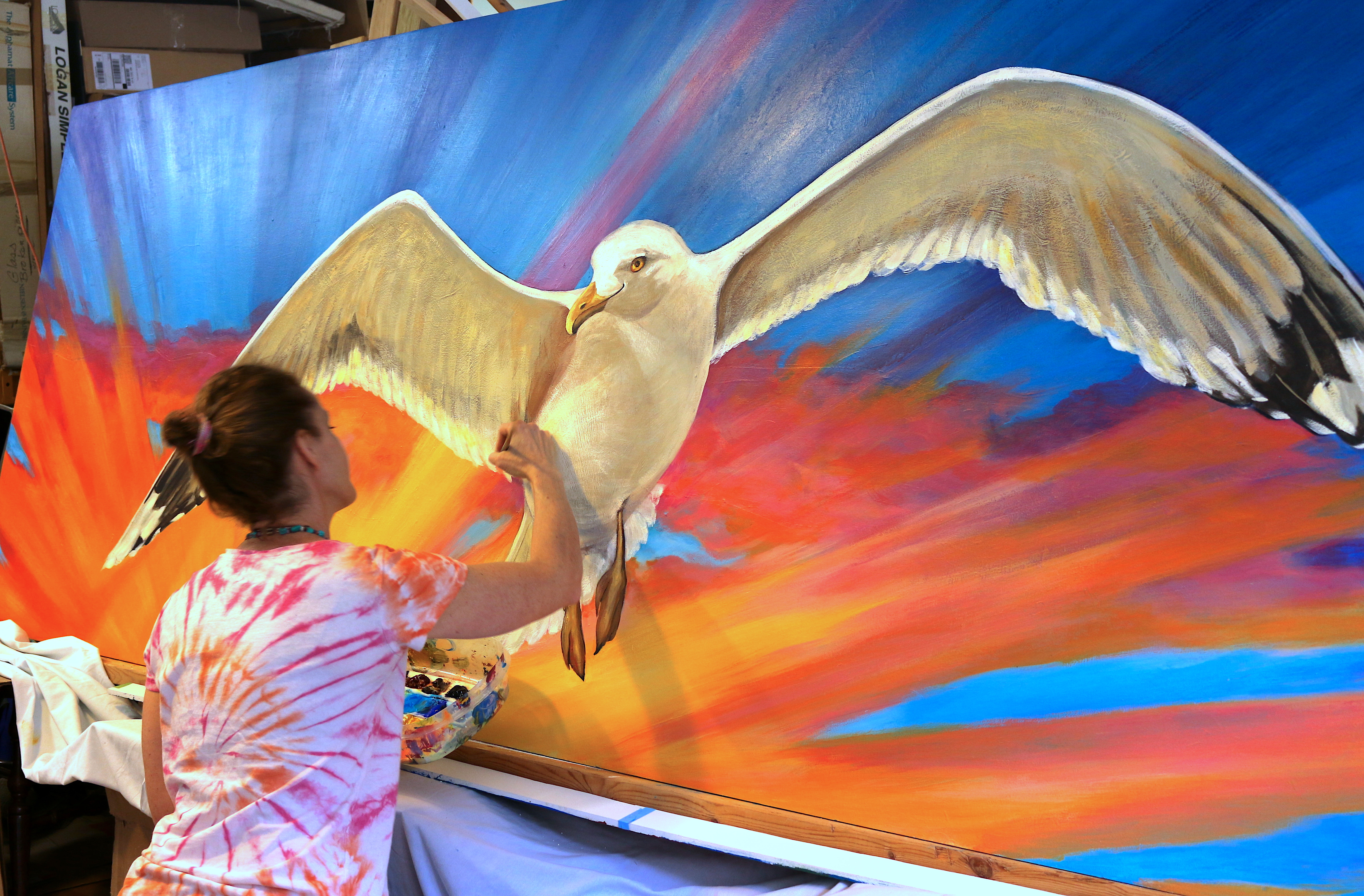 Gayle painting Cape St Claire Elementary School Mural 2017
