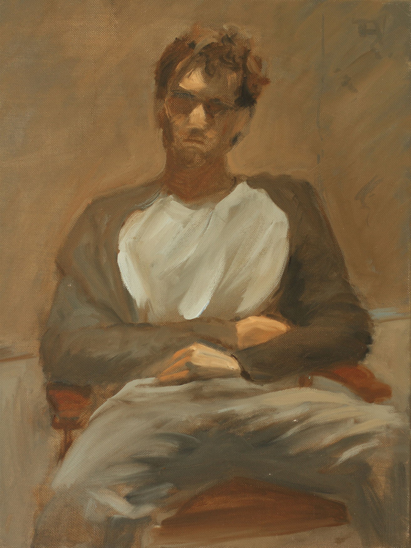 Oil painting of seated male figure