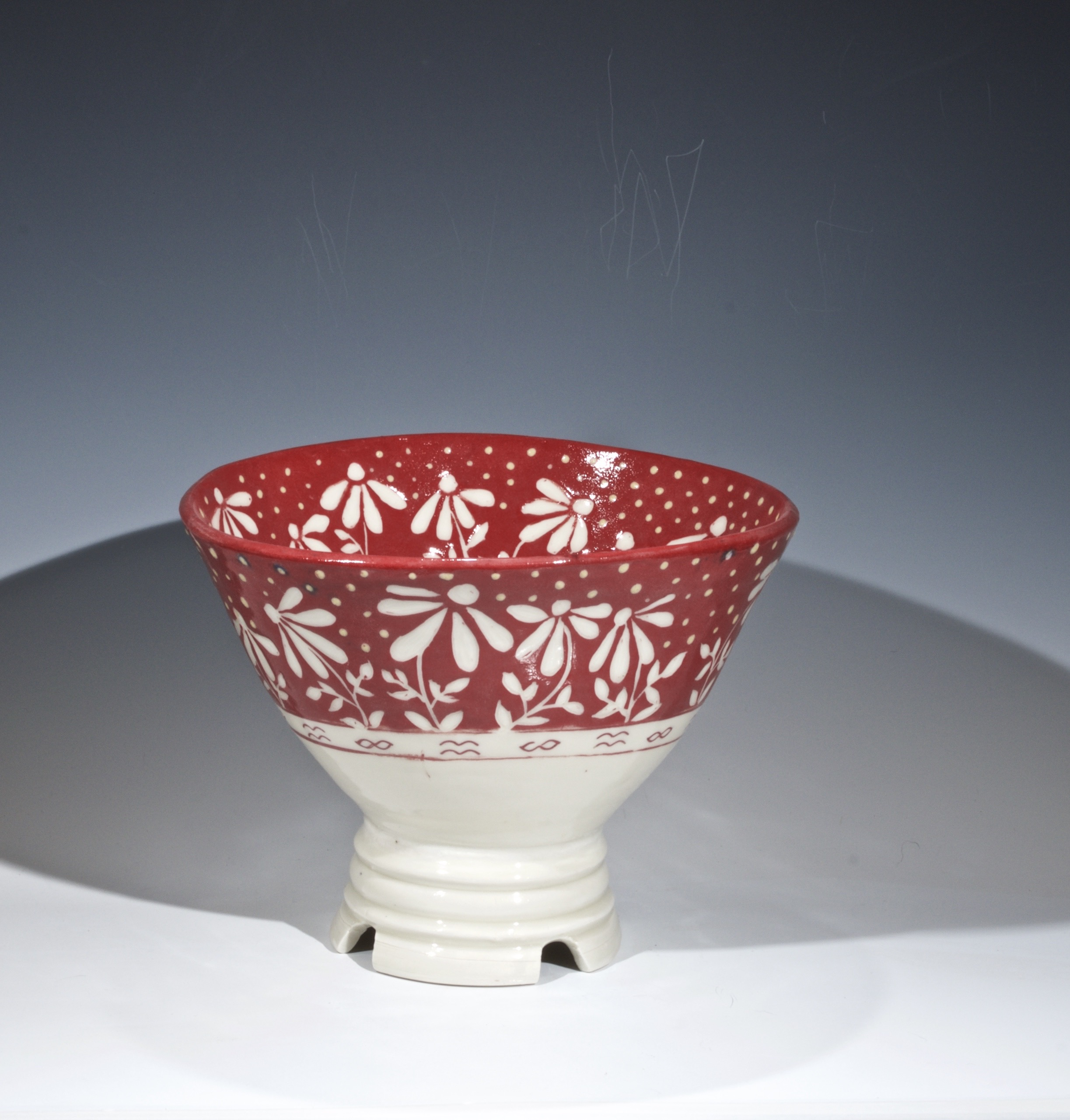 Withe stoneware with red slip