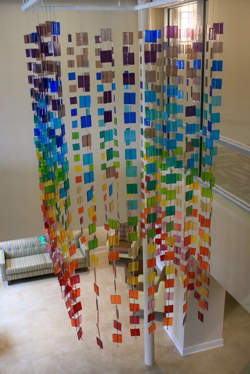 Fused glass hanging, Rainbow of colors 8 ft x 6ft x 4 ft