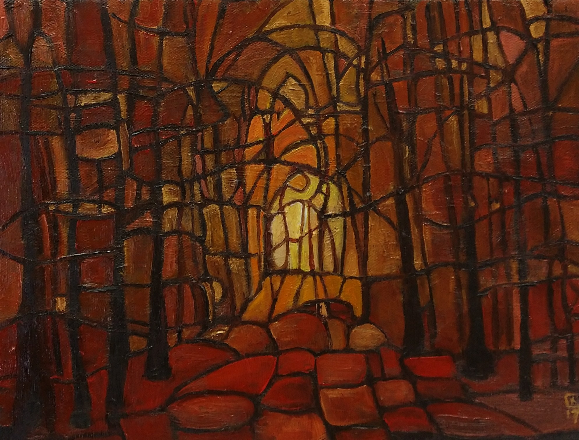 oil painting of forest