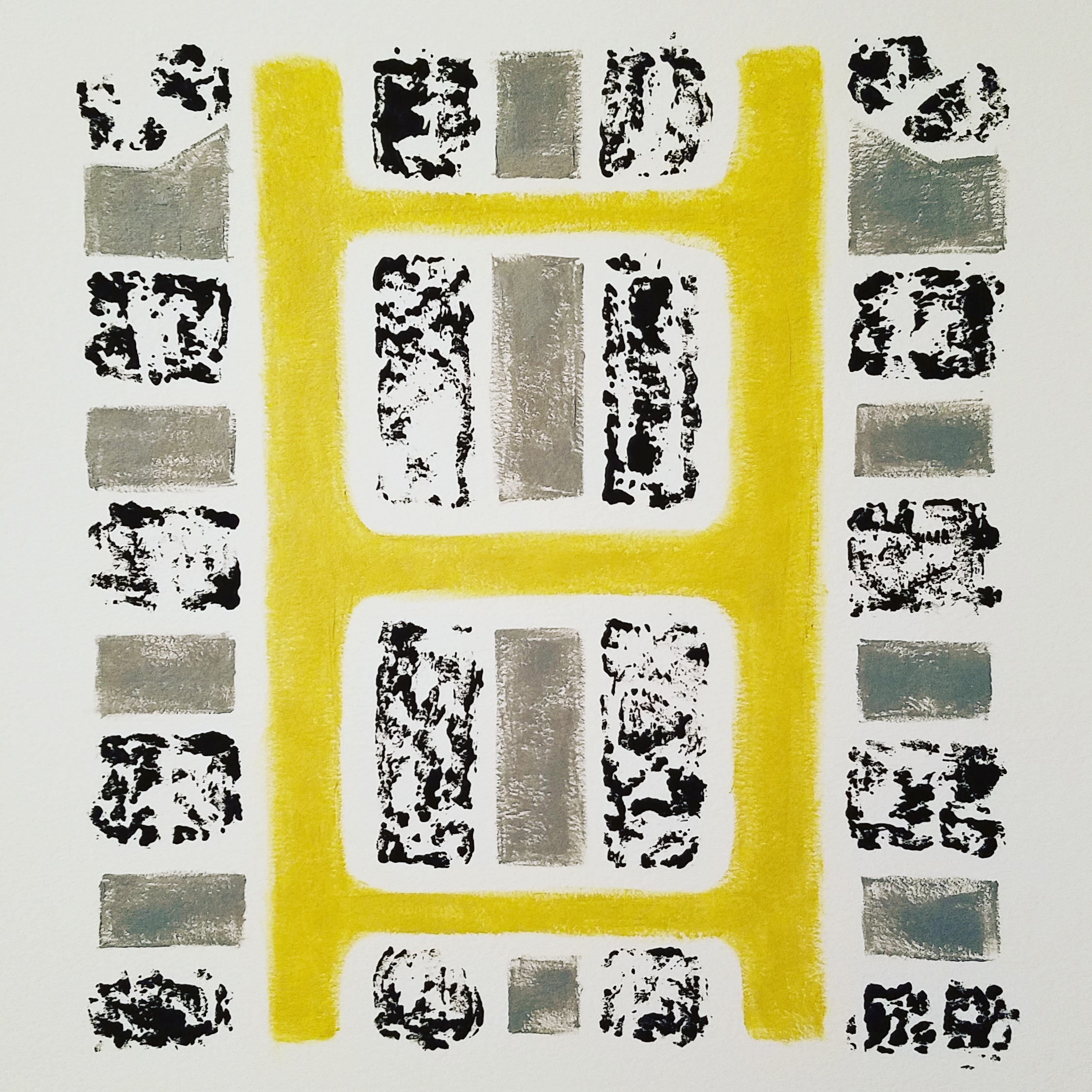 Untitled, oil and printing ink on paper