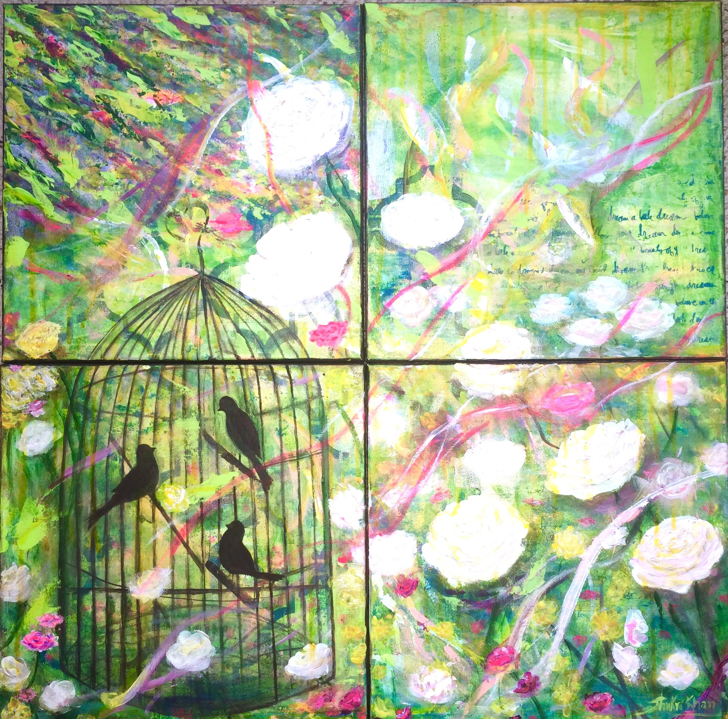 """4 panel artwork on 12""""x12"""" Canvases"""